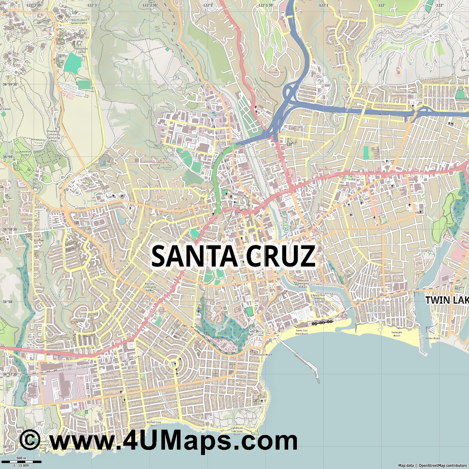 Santa Cruz  jpg ultra high detail preview vector city map