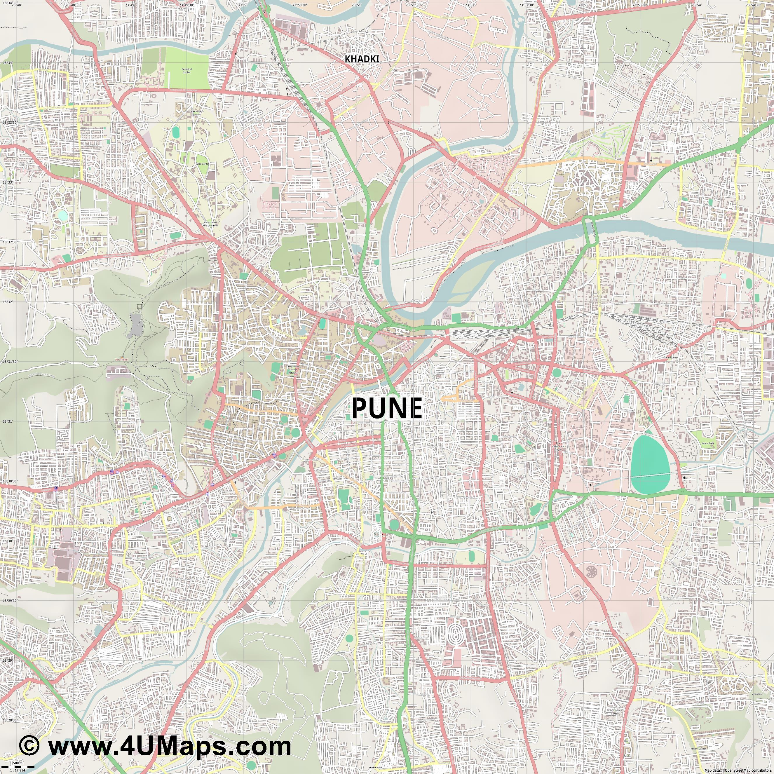 Pune  jpg ultra high detail preview vector city map