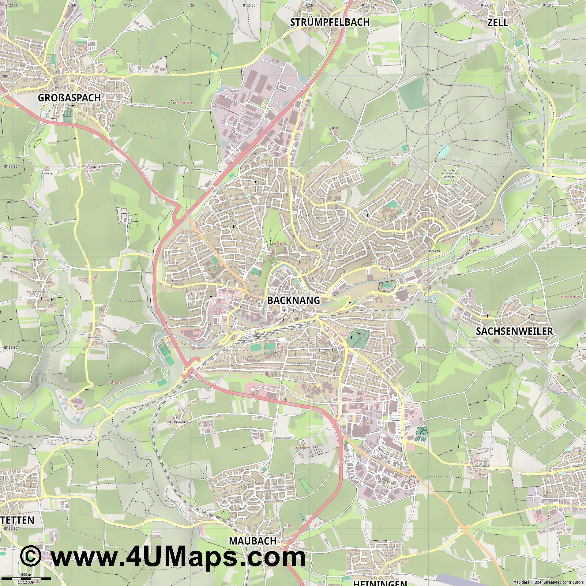 Backnang  jpg ultra high detail preview vector city map