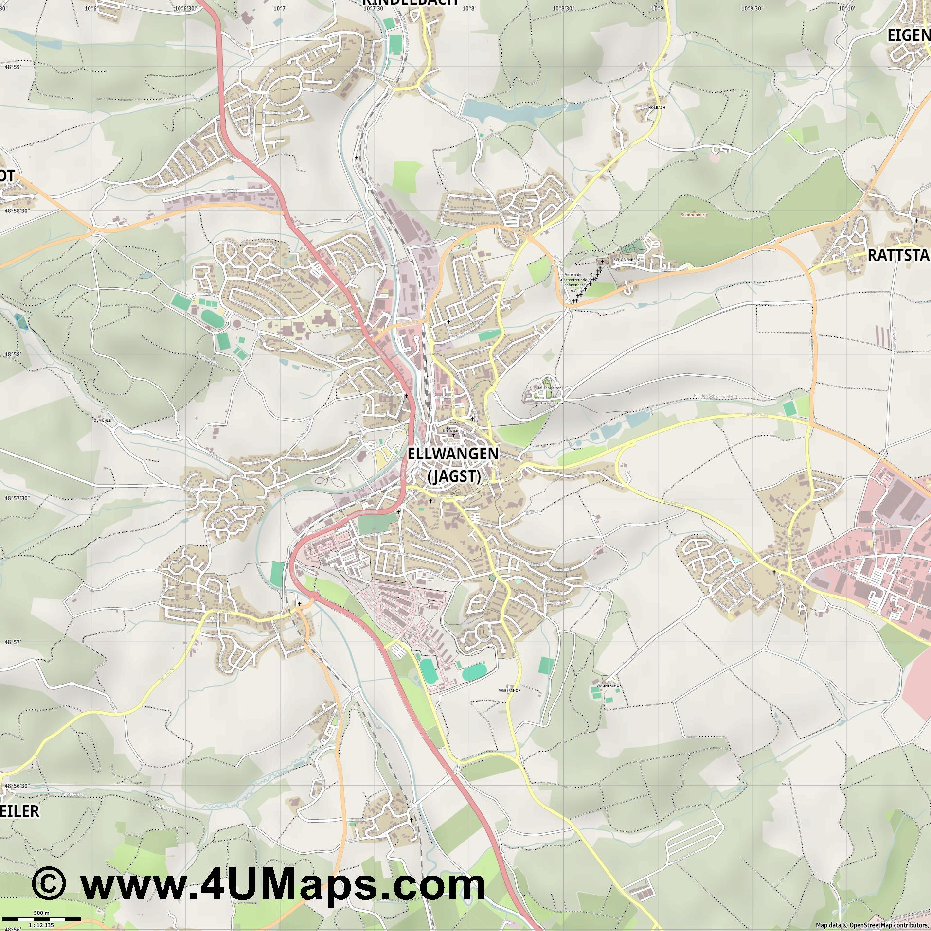 Ellwangen  Jagst   jpg ultra high detail preview vector city map