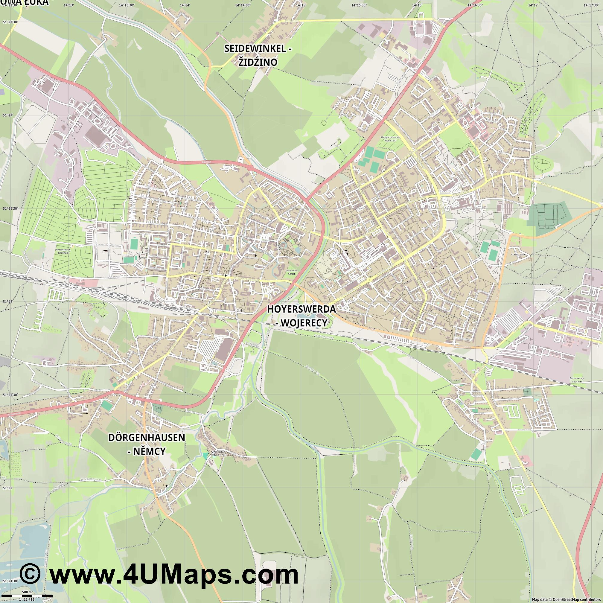 Hoyerswerda  jpg ultra high detail preview vector city map