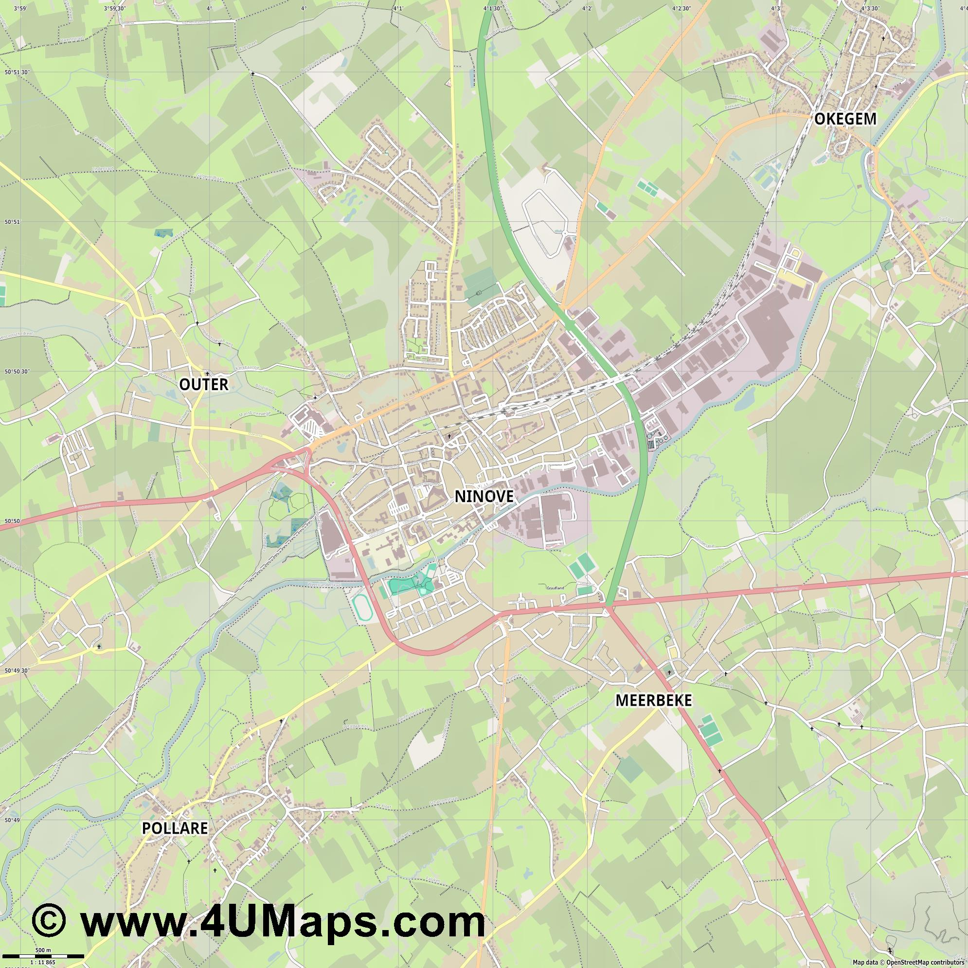Ninove  jpg ultra high detail preview vector city map