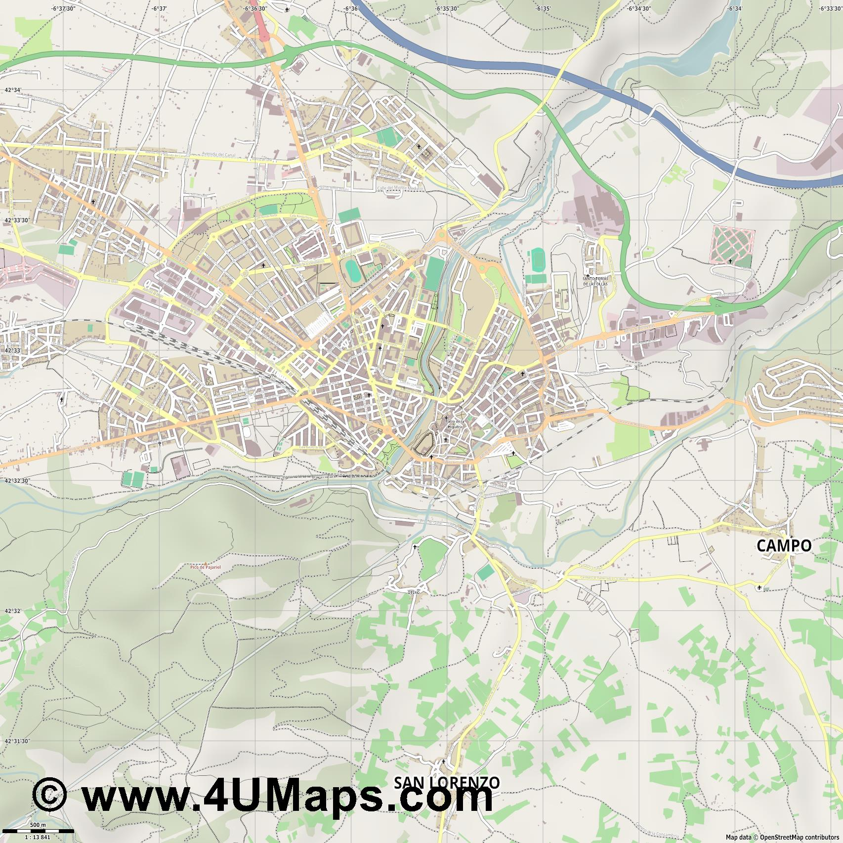Ponferrada  jpg ultra high detail preview vector city map