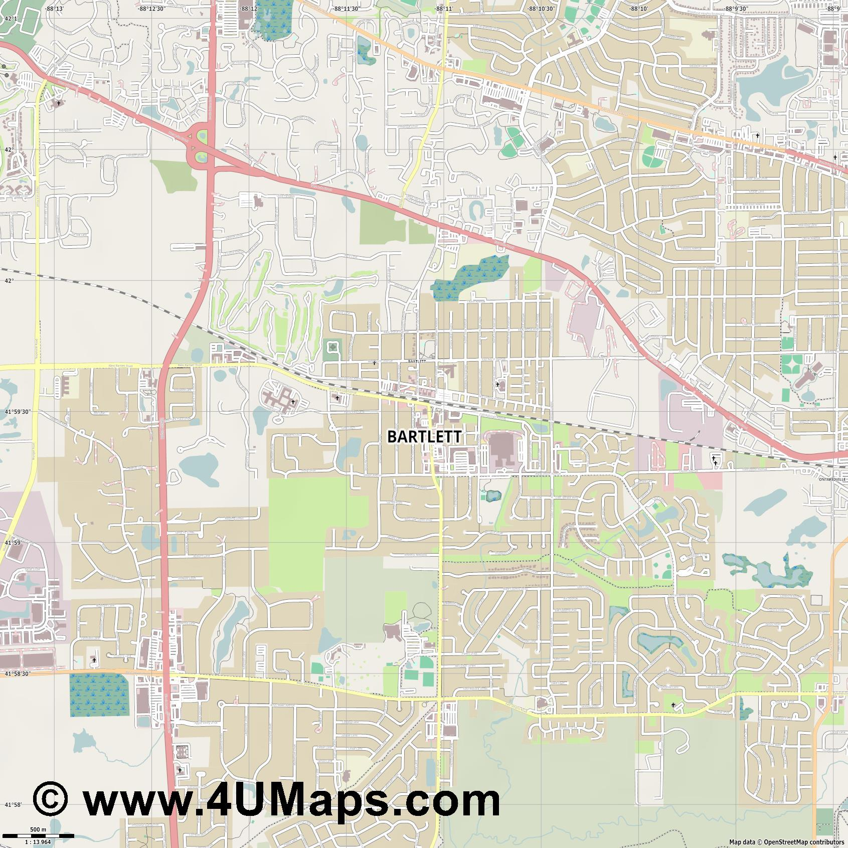 Bartlett  jpg ultra high detail preview vector city map