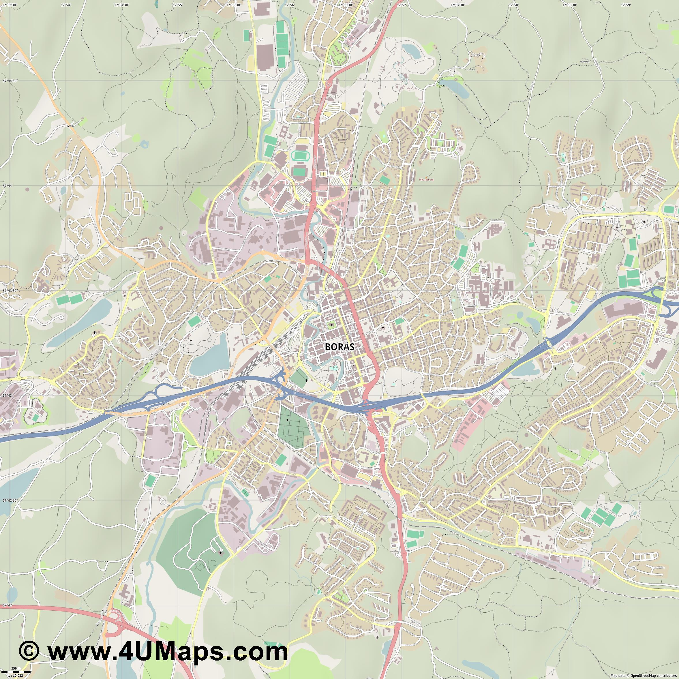 Borås  jpg ultra high detail preview vector city map