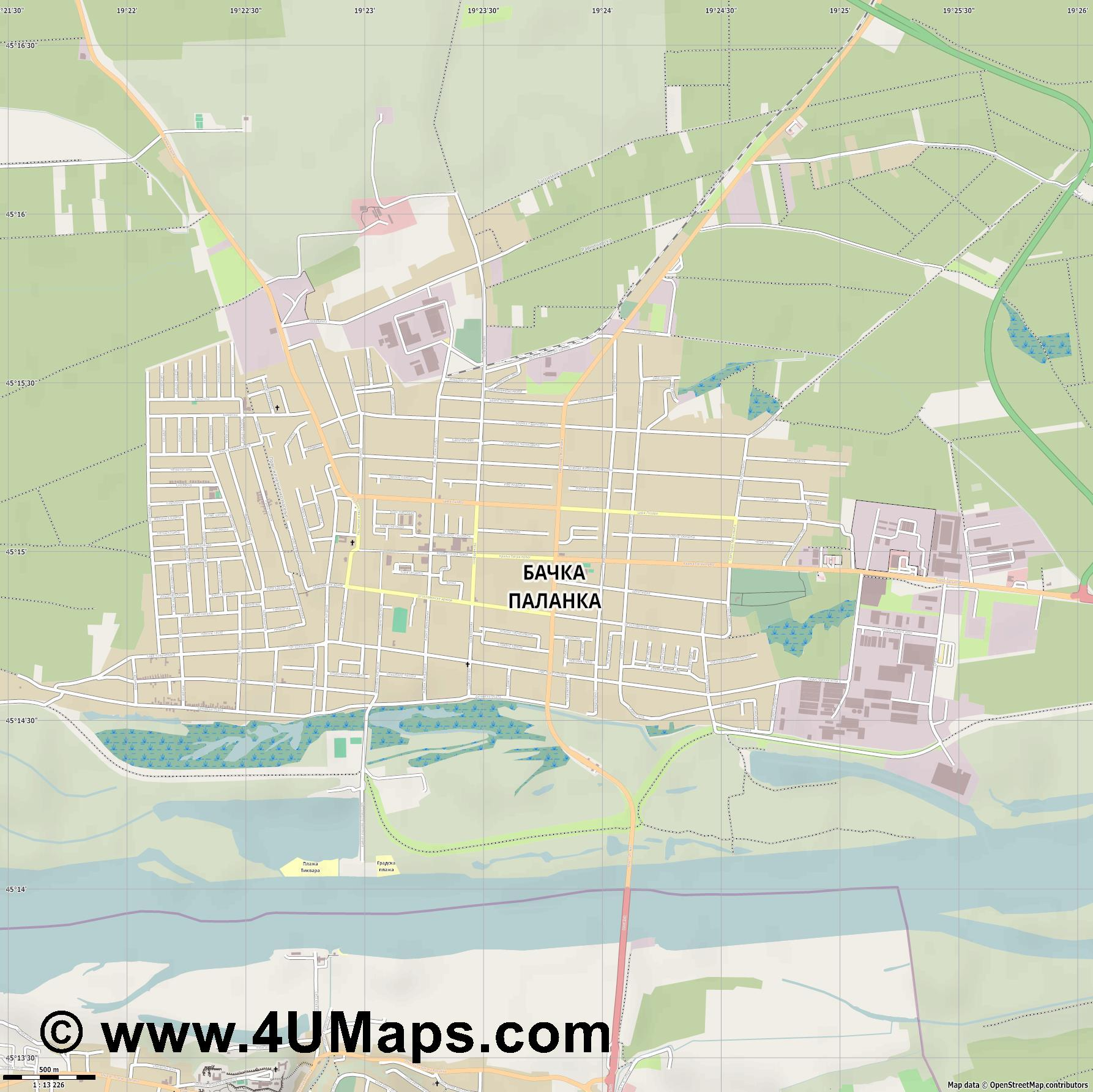 Бачка Паланка Backa Palanka Plankenburg  jpg ultra high detail preview vector city map