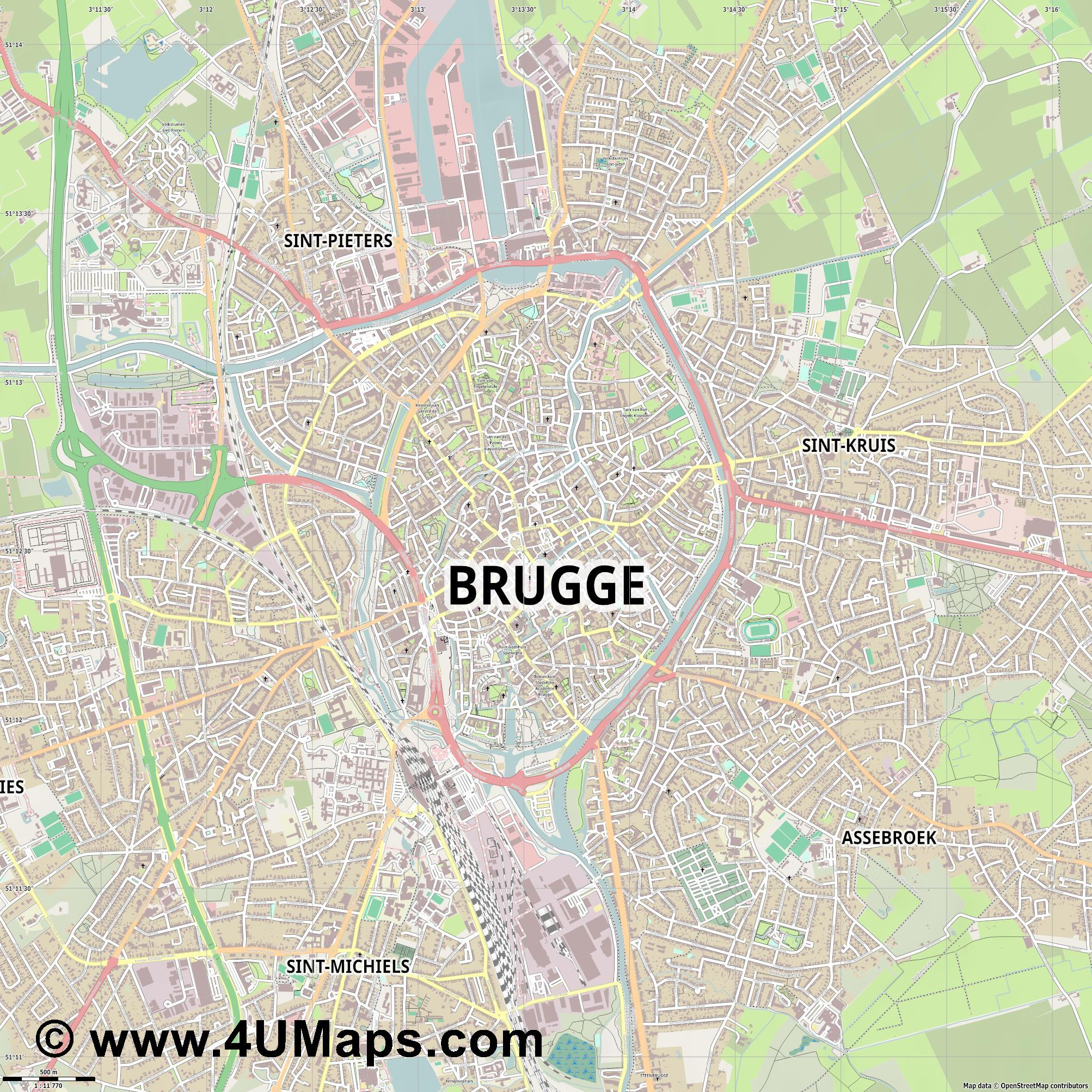 PDF Svg Scalable Vector City Map Brugge