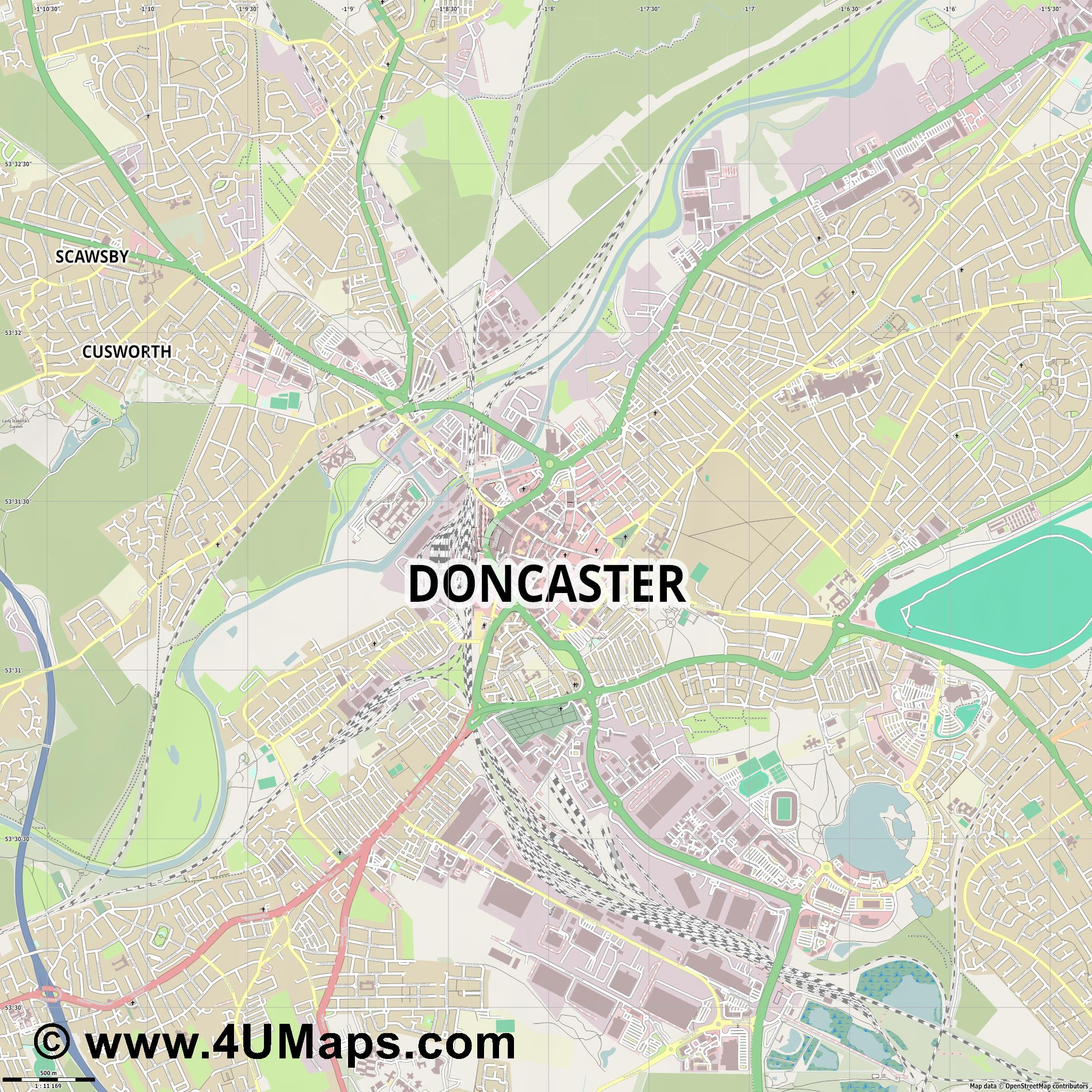 Doncaster  jpg ultra high detail preview vector city map