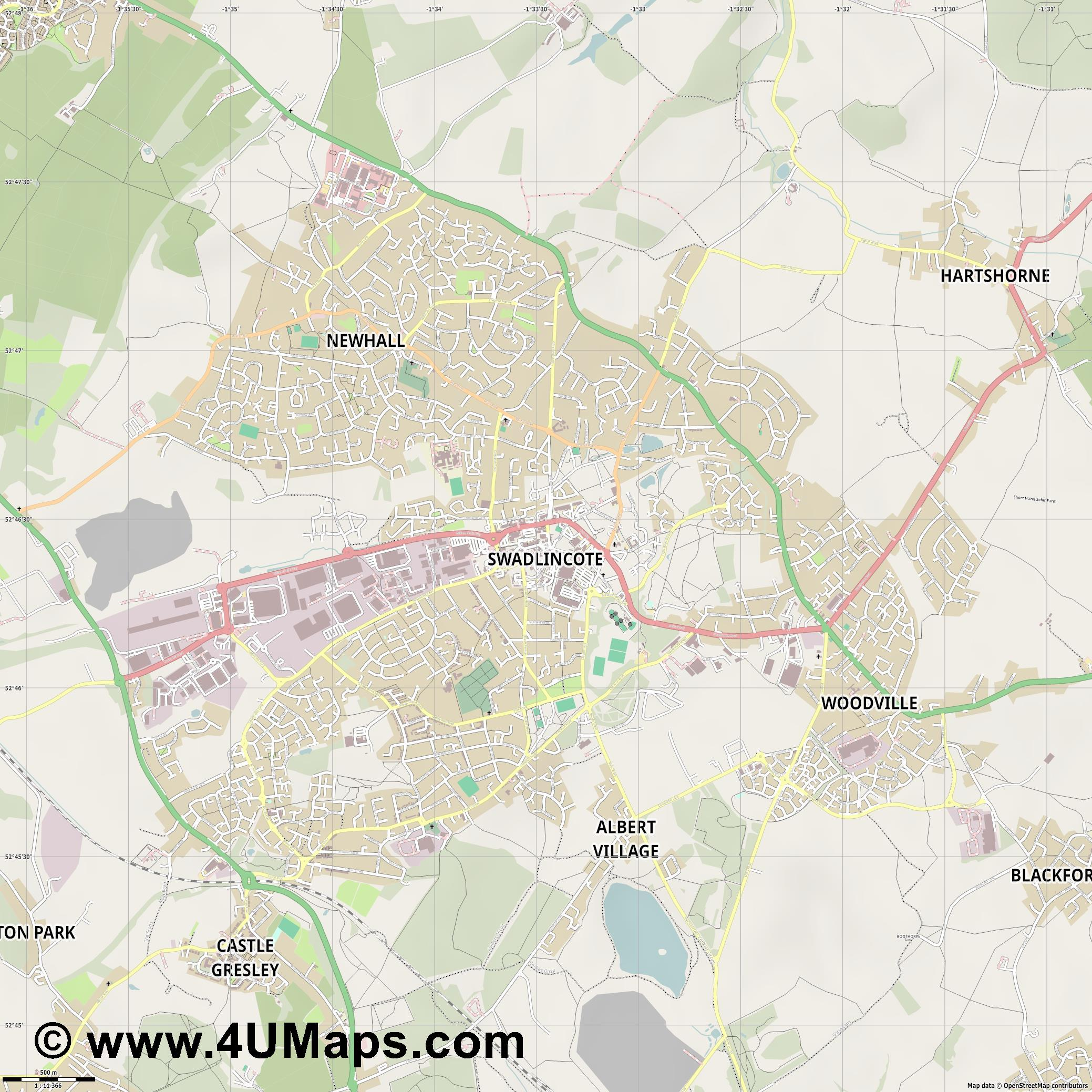 Swadlincote  jpg ultra high detail preview vector city map