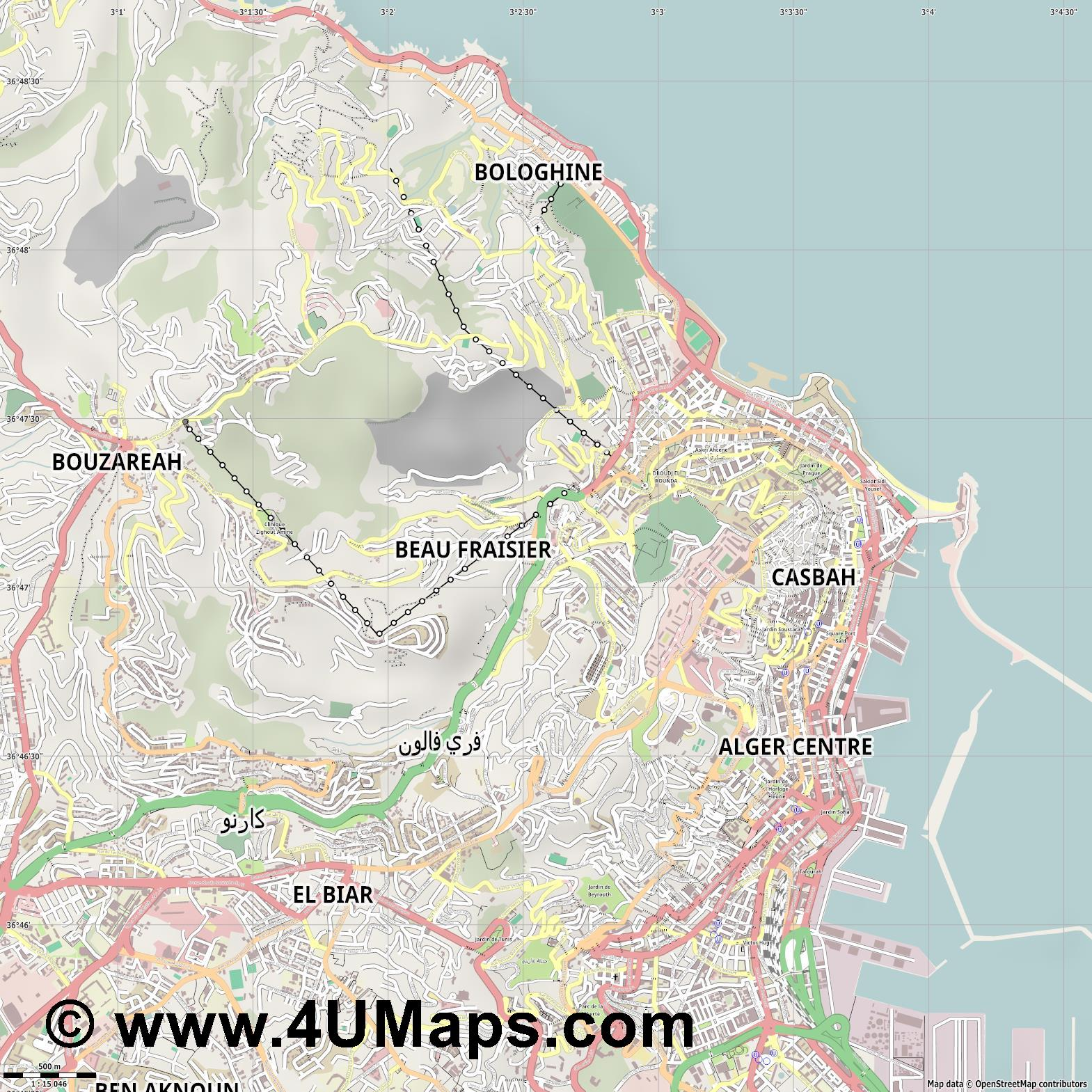 Oued Koreiche  jpg ultra high detail preview vector city map