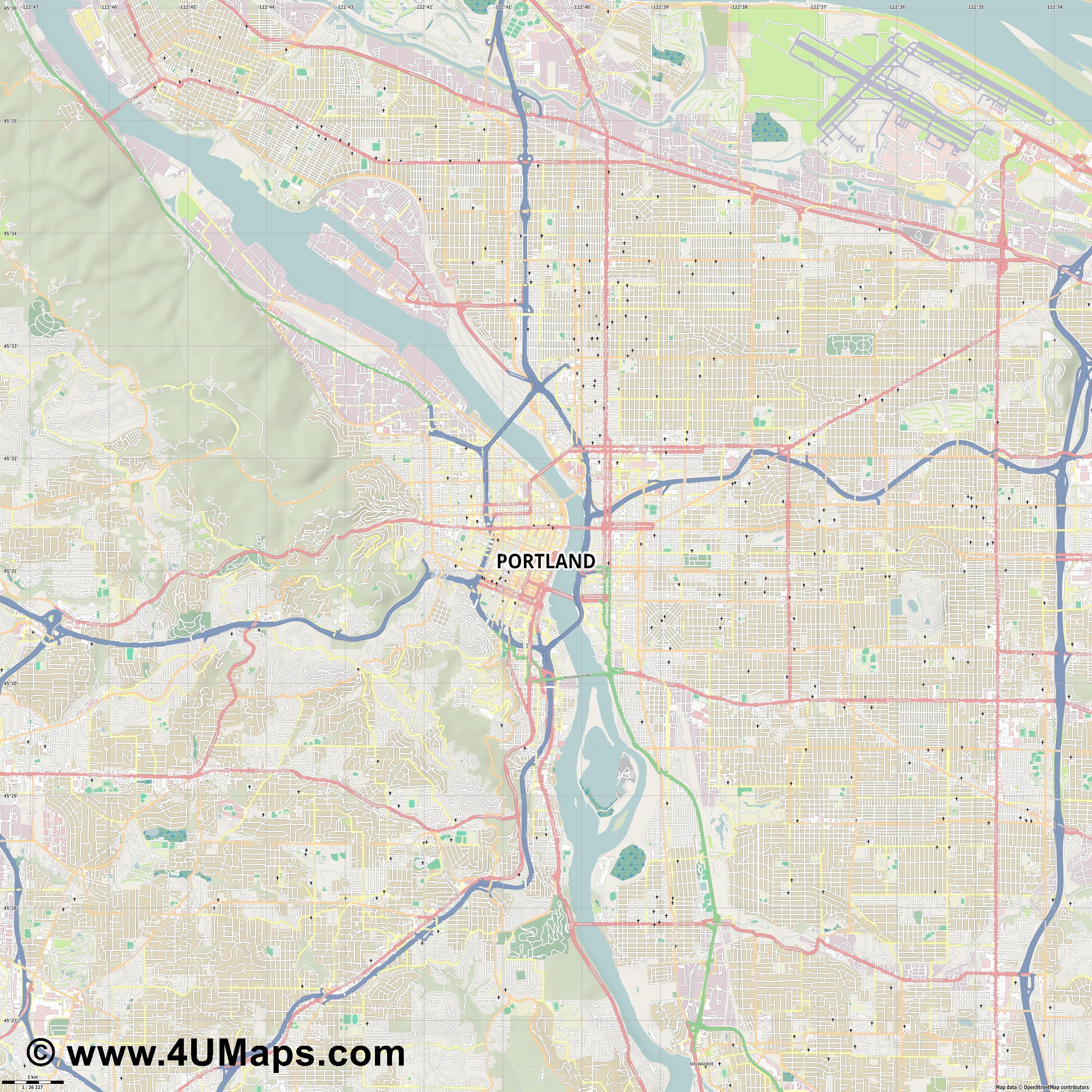 Portland  jpg high detail, large area preview vector city map
