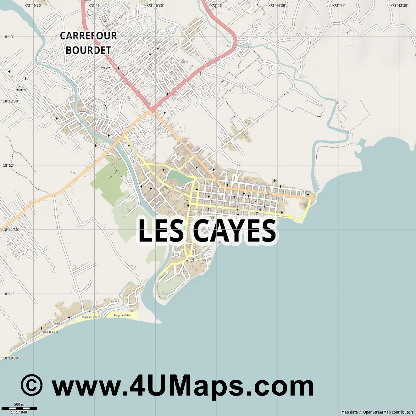 Les Cayes  jpg ultra high detail preview vector city map