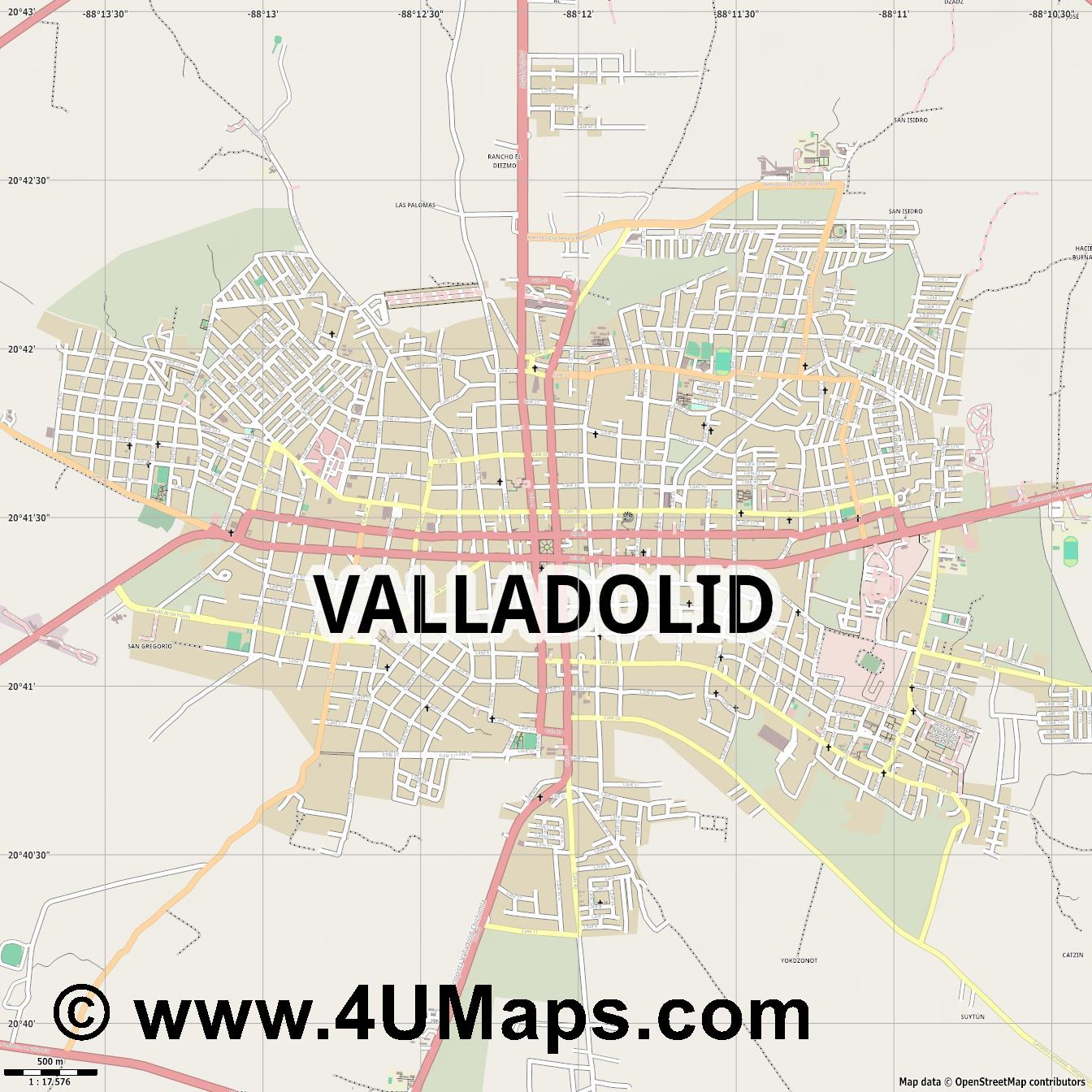 Valladolid  jpg ultra high detail preview vector city map