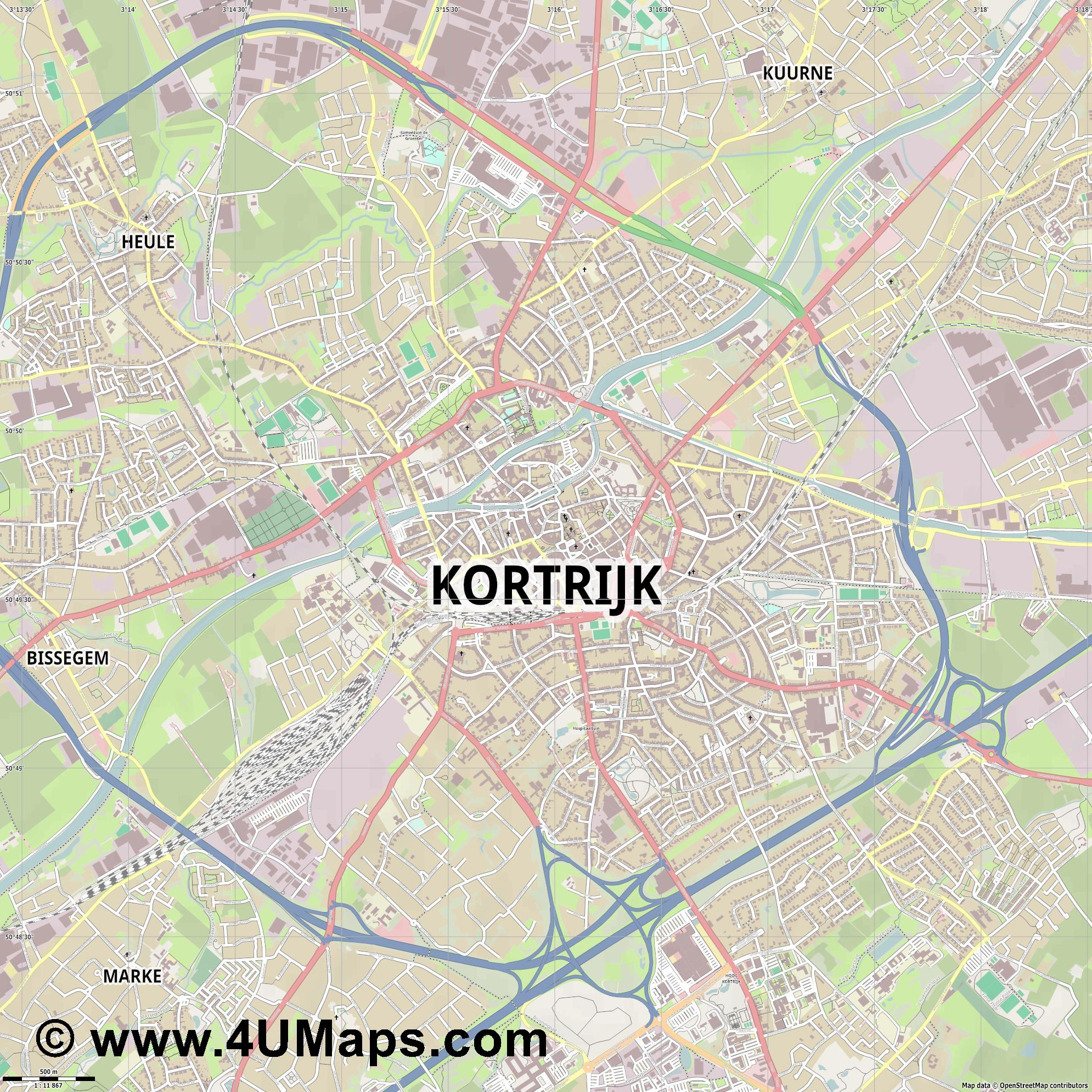 Kortrijk Cortrique Courtrai  jpg ultra high detail preview vector city map