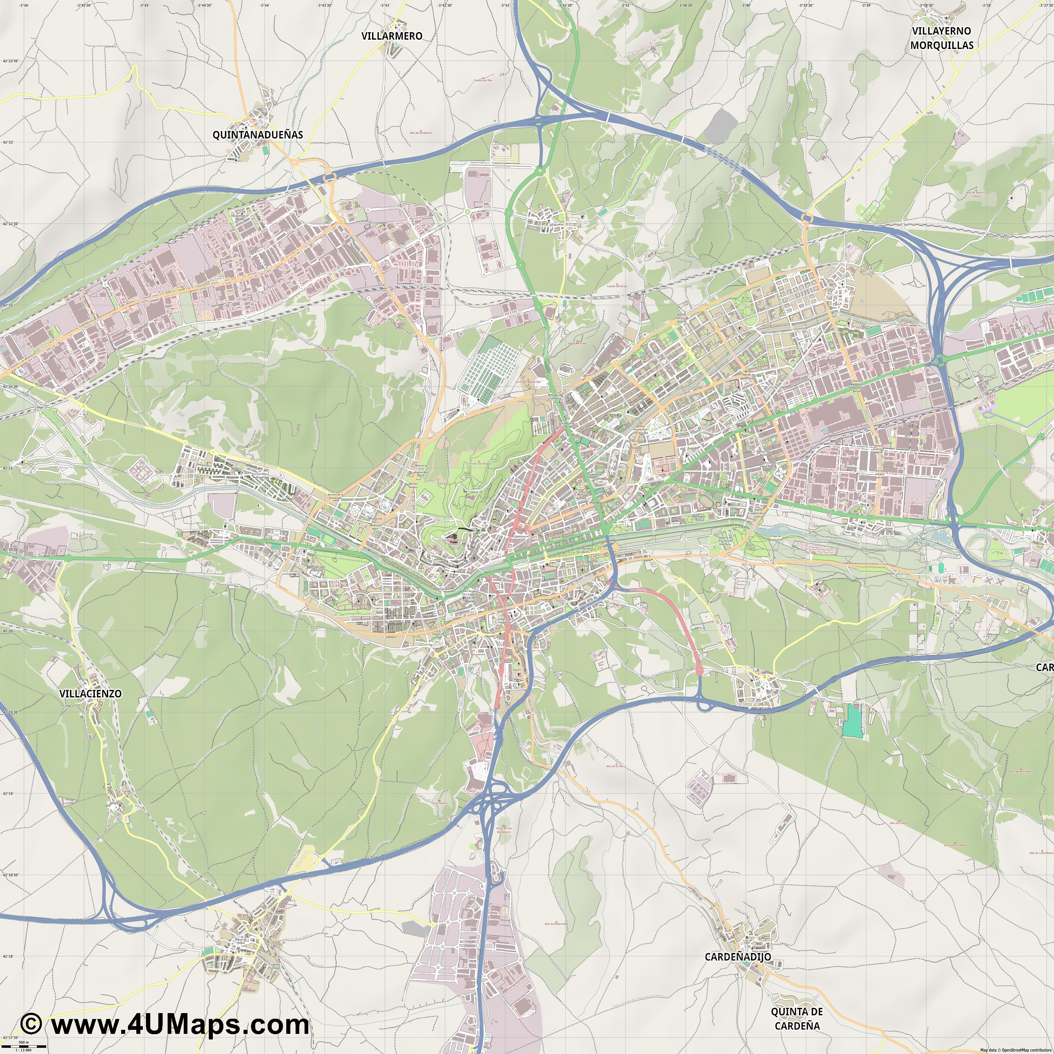 Burgos  jpg ultra high detail preview vector city map