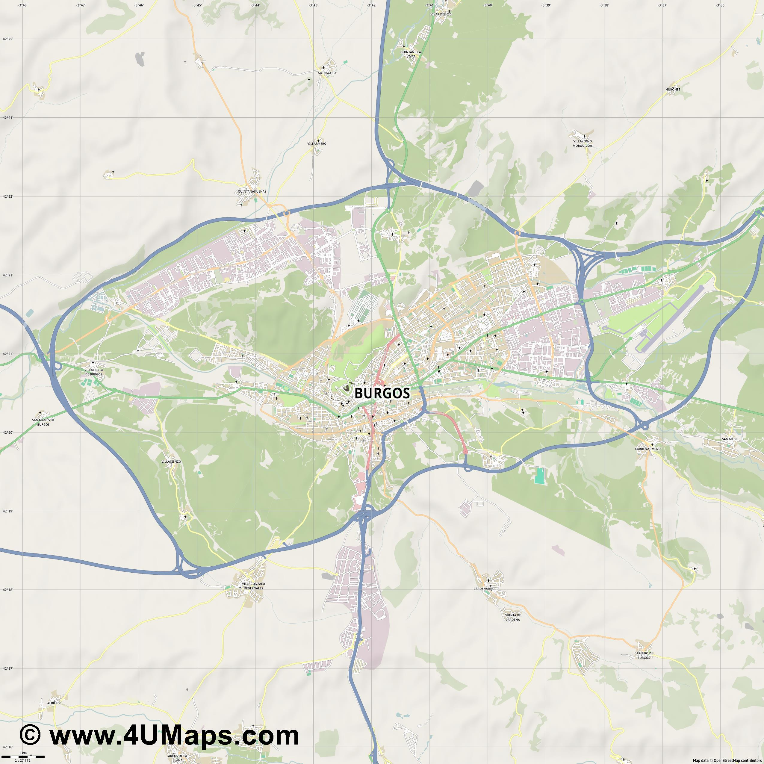 Burgos  jpg high detail, large area preview vector city map