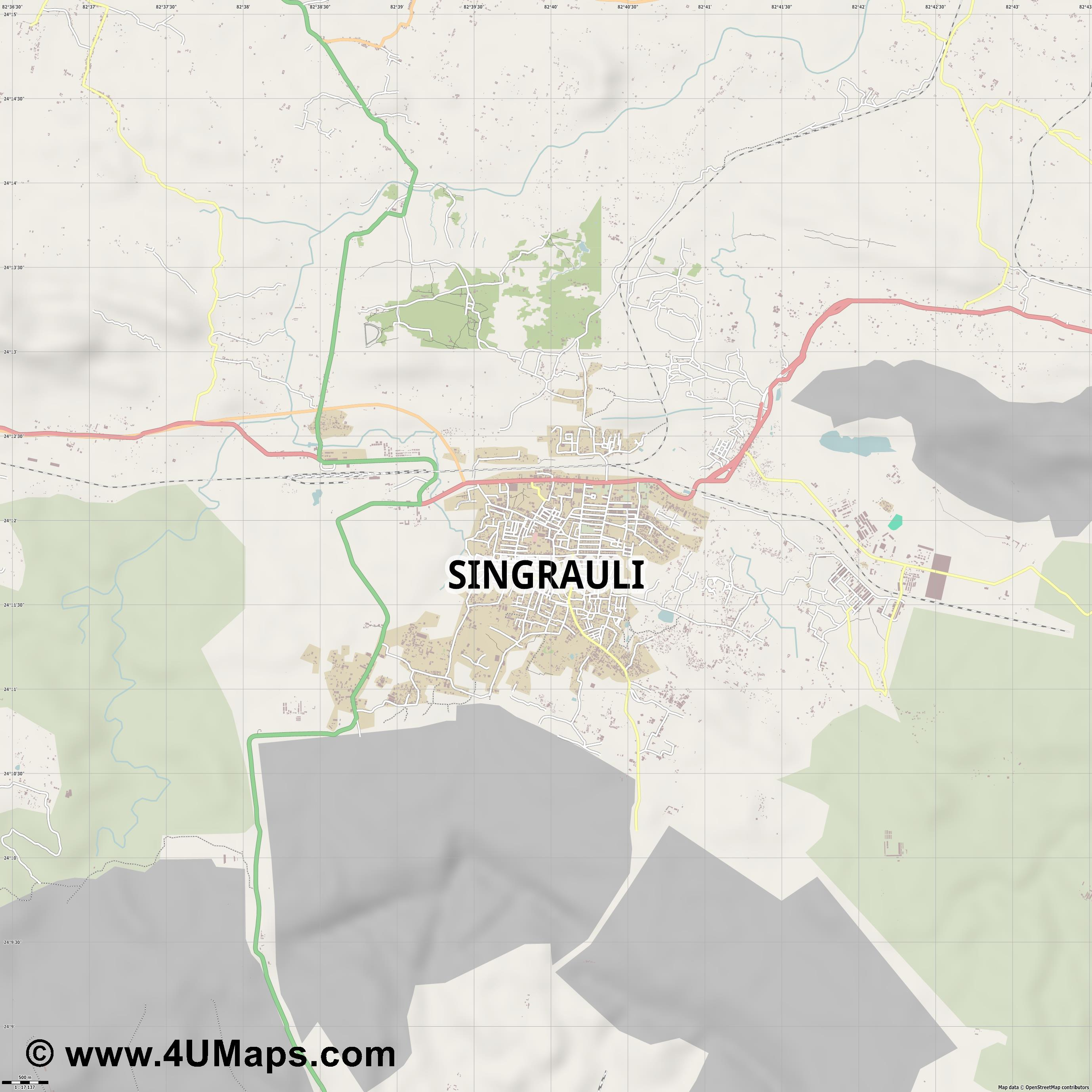 Singrauli  jpg ultra high detail preview vector city map