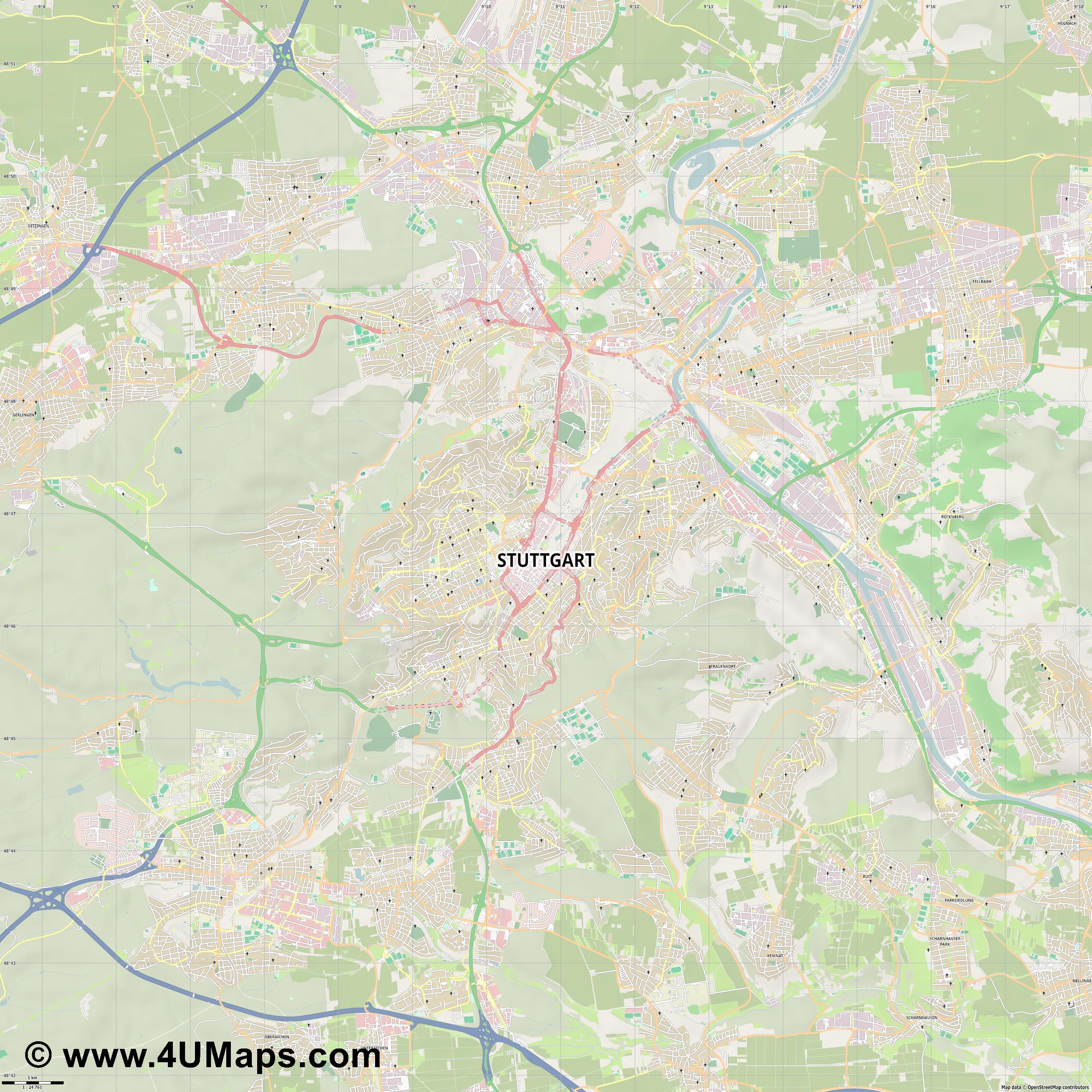 PDF Svg Scalable Vector City Map Stuttgart