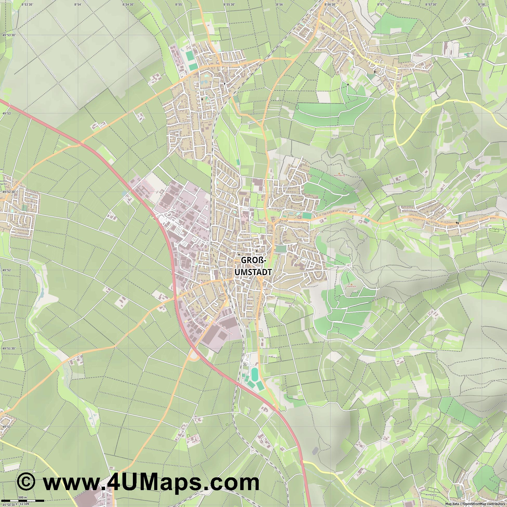Groß Umstadt  jpg ultra high detail preview vector city map