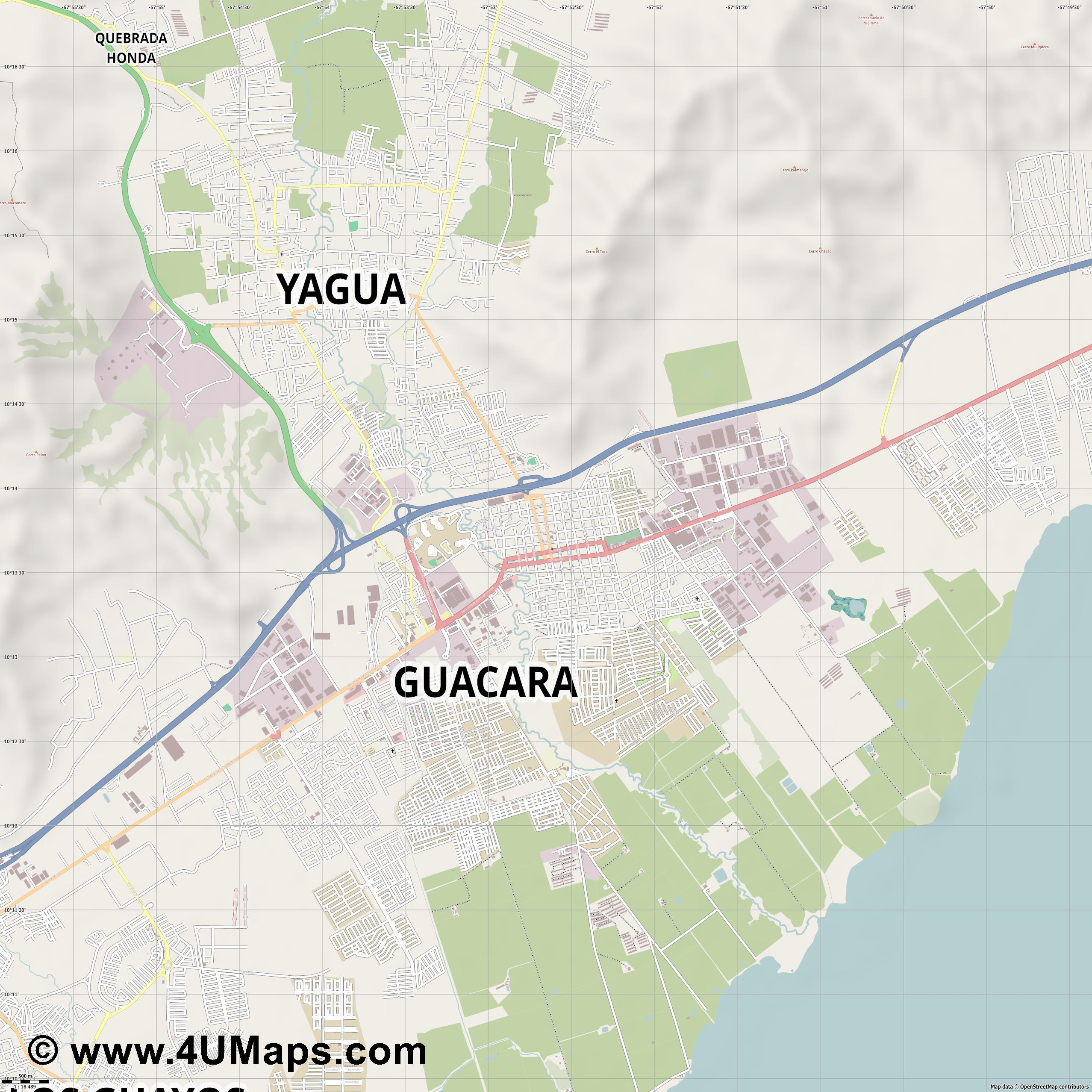 Guacara  jpg ultra high detail preview vector city map