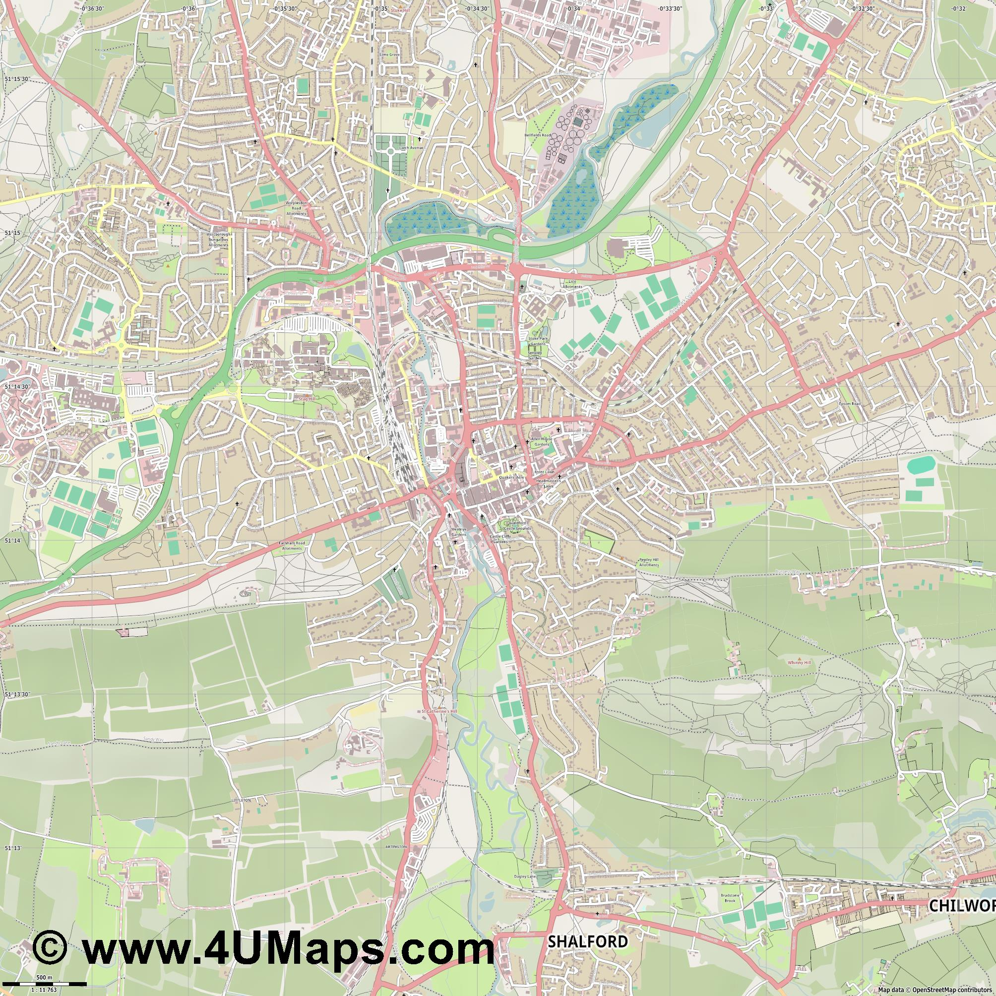 Guildford  jpg ultra high detail preview vector city map