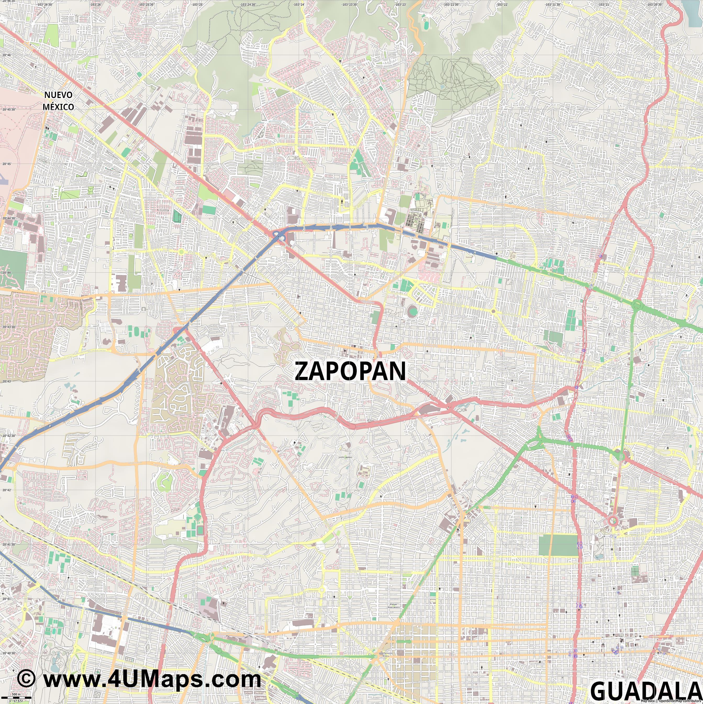 Svg Scalable Vector City Map Zapopan