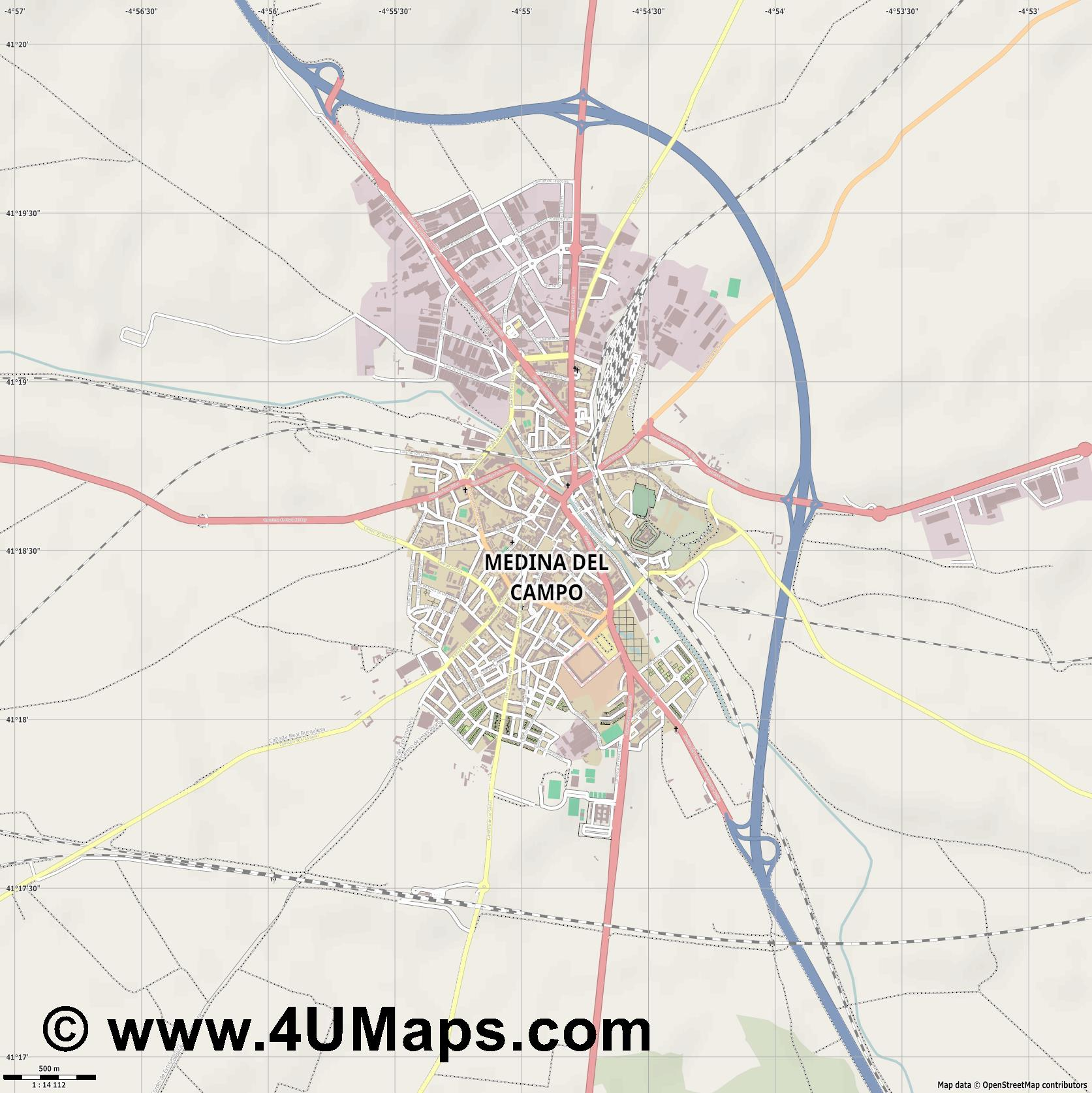 Medina del Campo  jpg ultra high detail preview vector city map