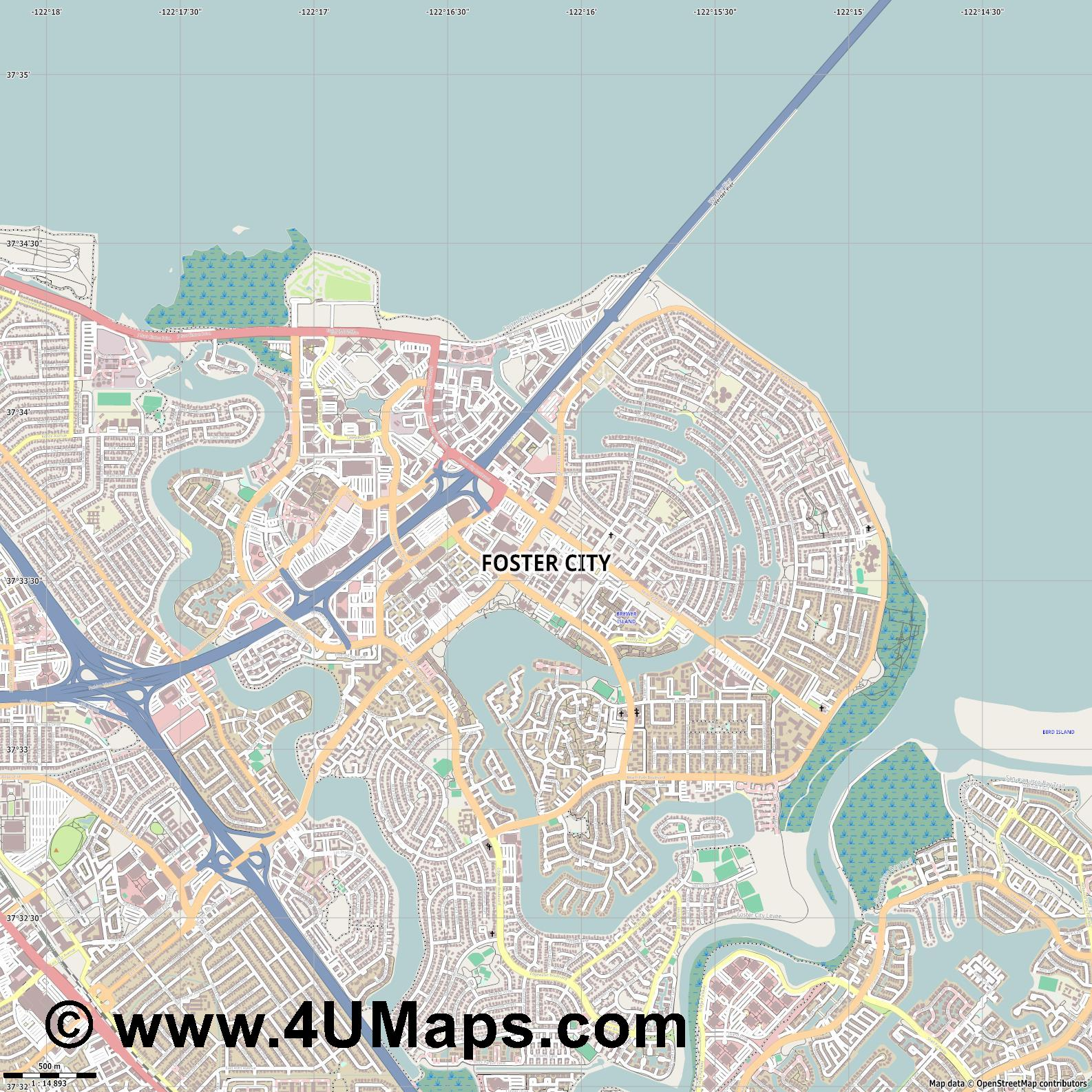 Foster City  jpg ultra high detail preview vector city map