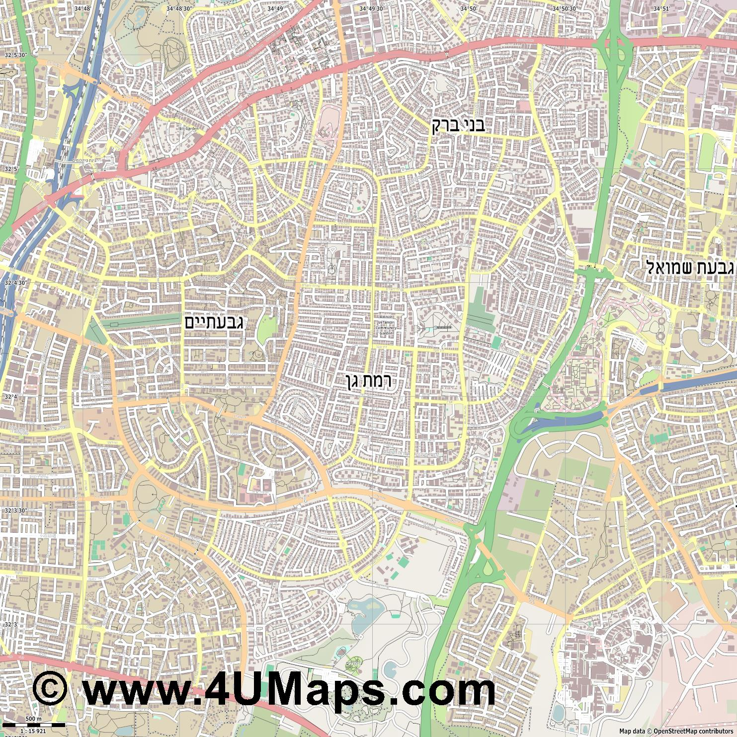 רמת גן Ramat Gan  jpg ultra high detail preview vector city map