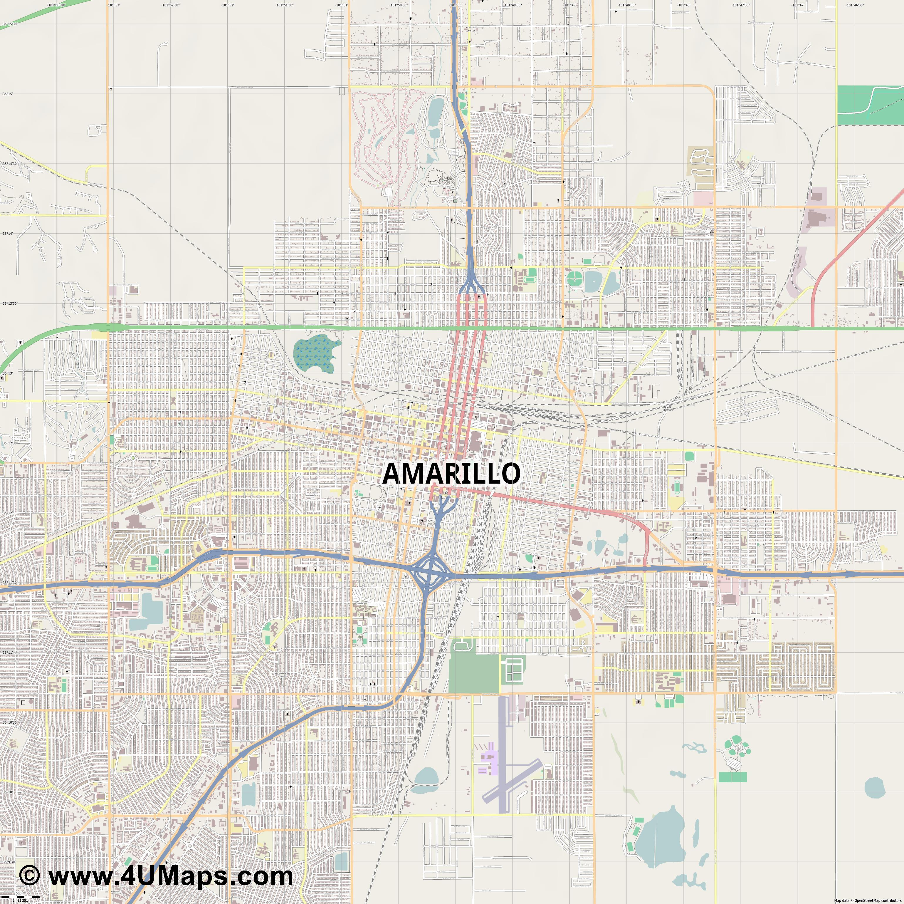 Amarillo  jpg ultra high detail preview vector city map