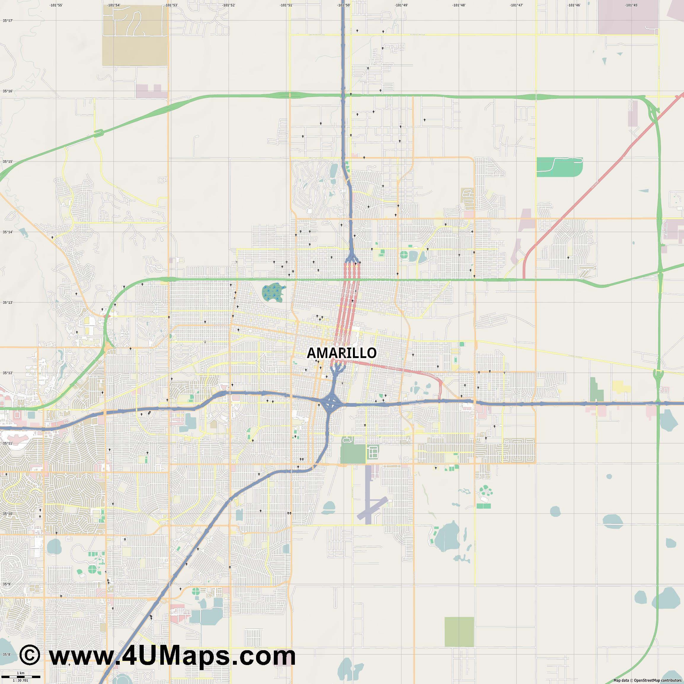 Amarillo  jpg high detail, large area preview vector city map