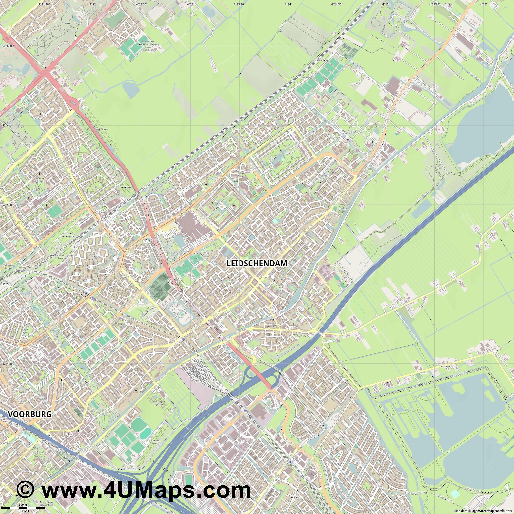Leidschendam  jpg ultra high detail preview vector city map