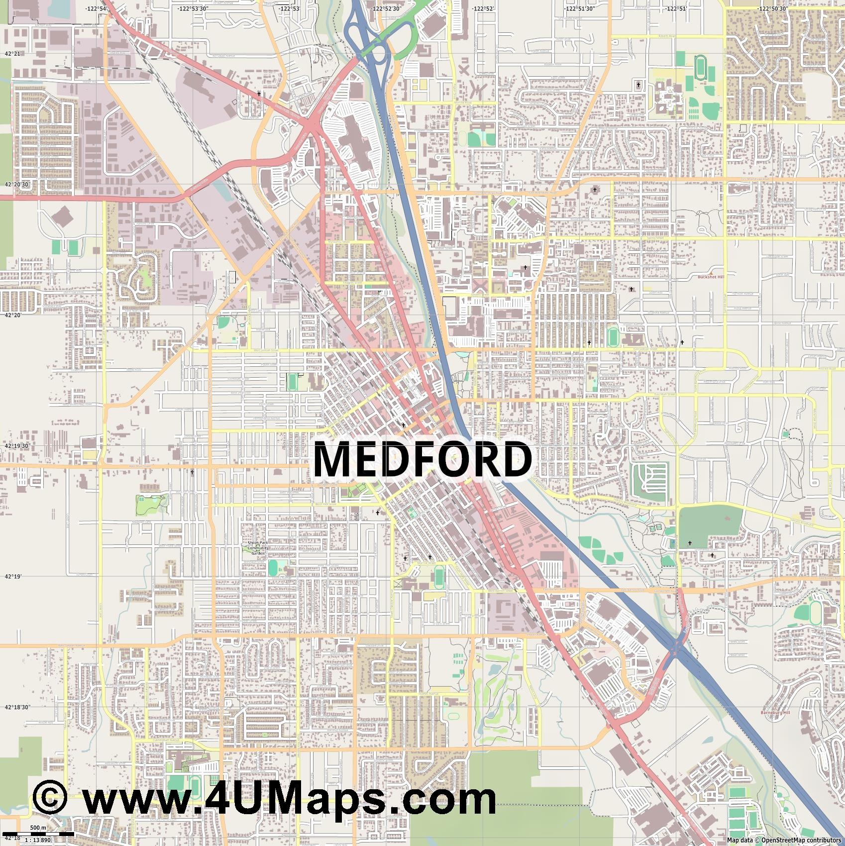 Medford  jpg ultra high detail preview vector city map