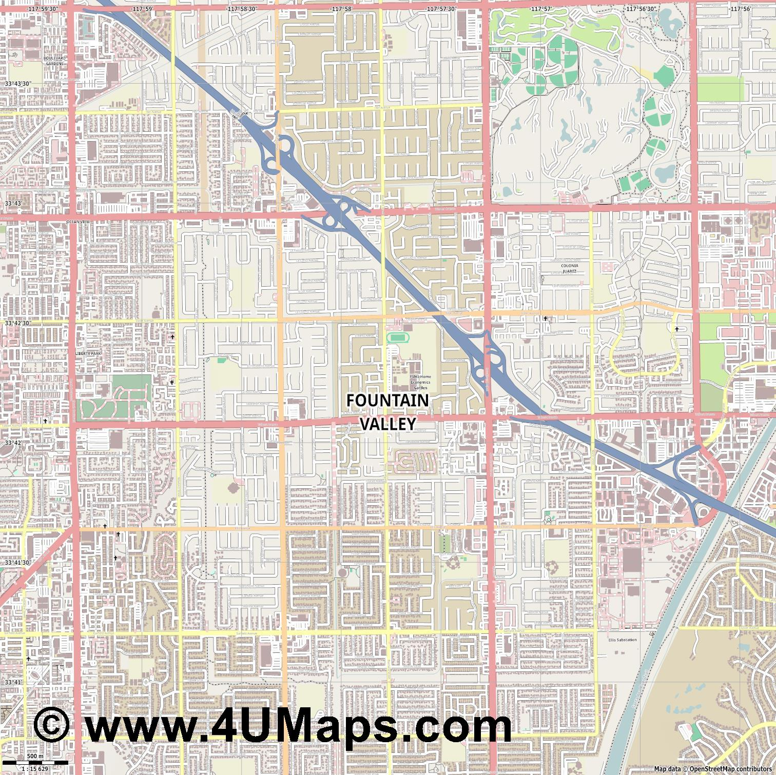 Fountain Valley  jpg ultra high detail preview vector city map