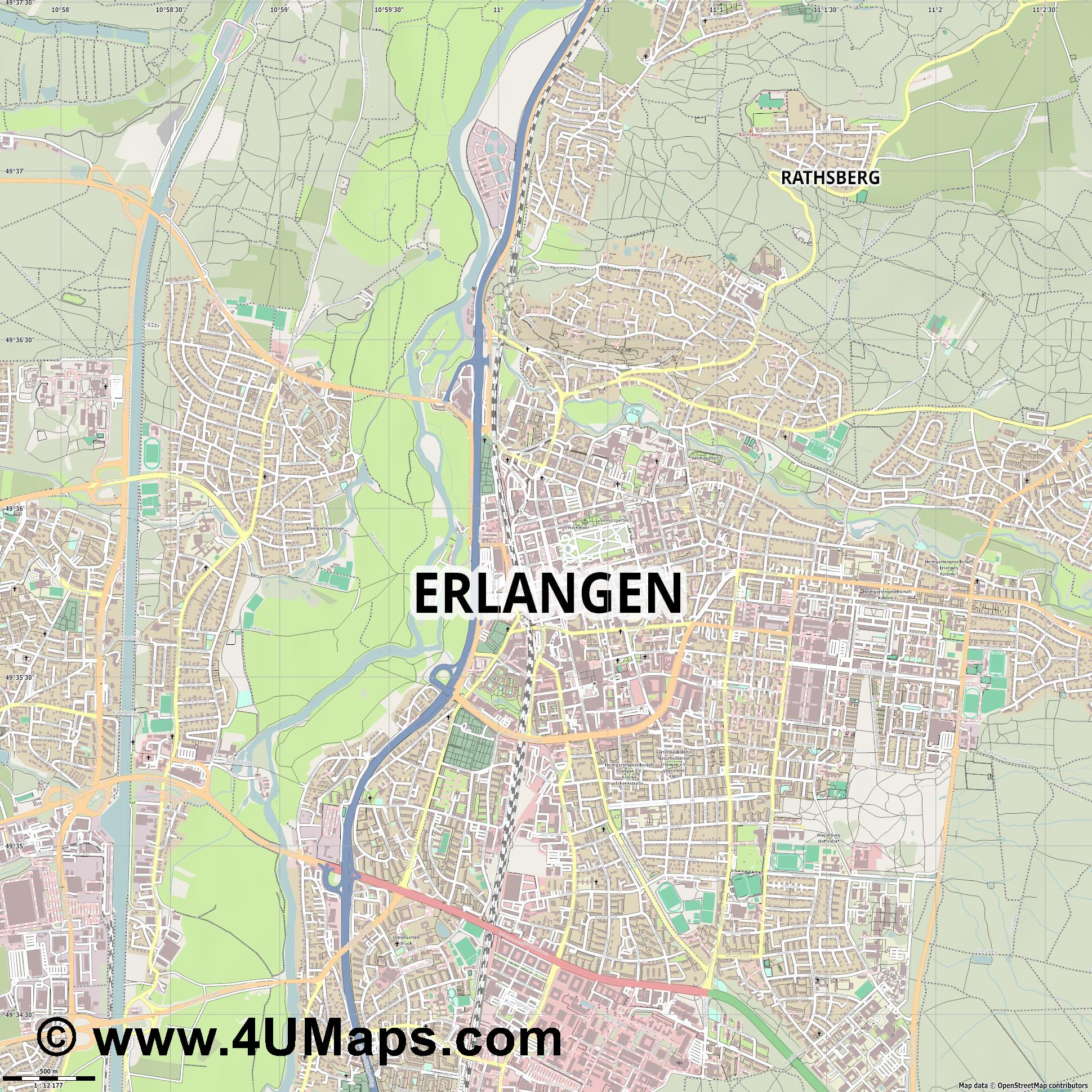 PDF Svg Scalable Vector City Map Erlangen