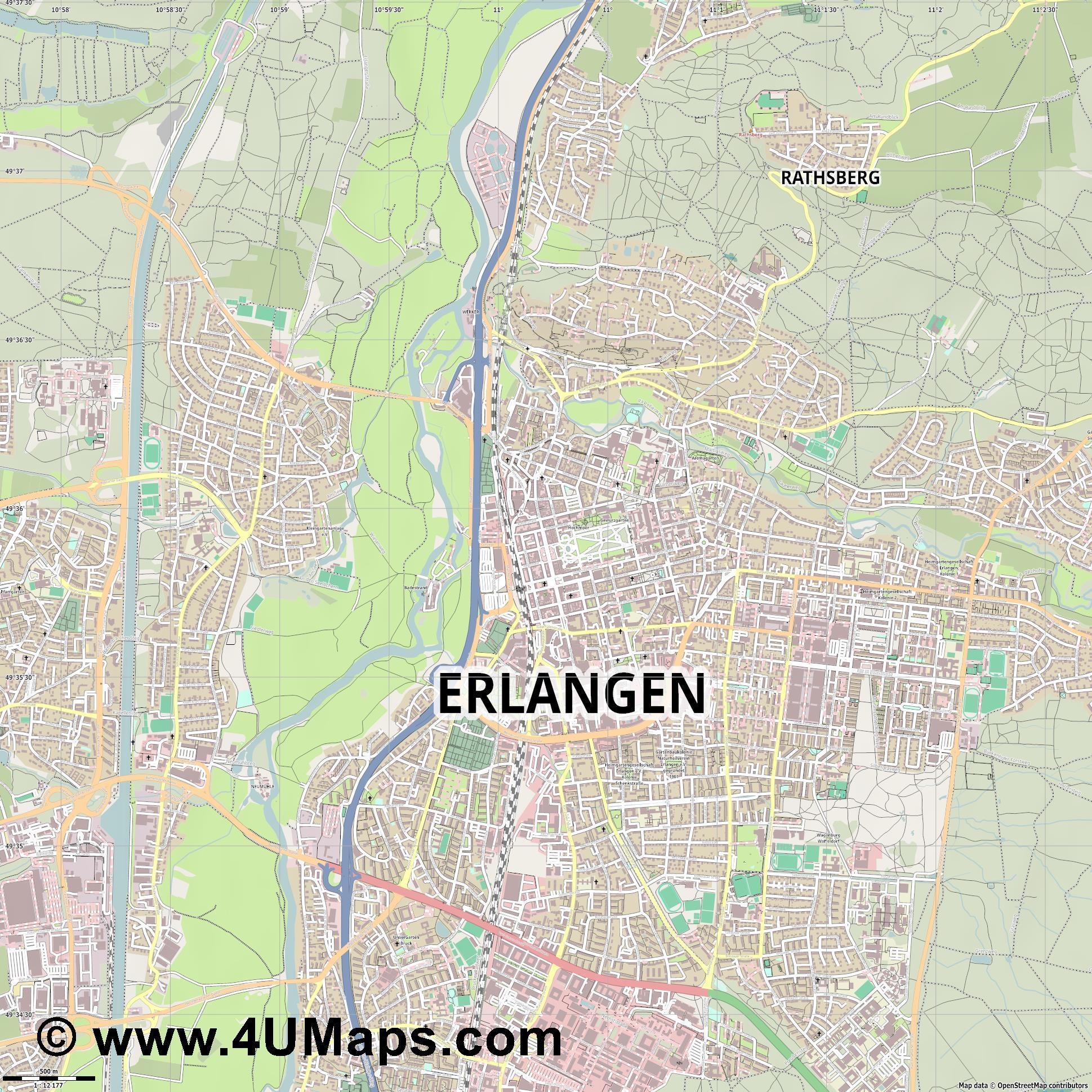 Svg Scalable Vector City Map Erlangen - Erlangen map