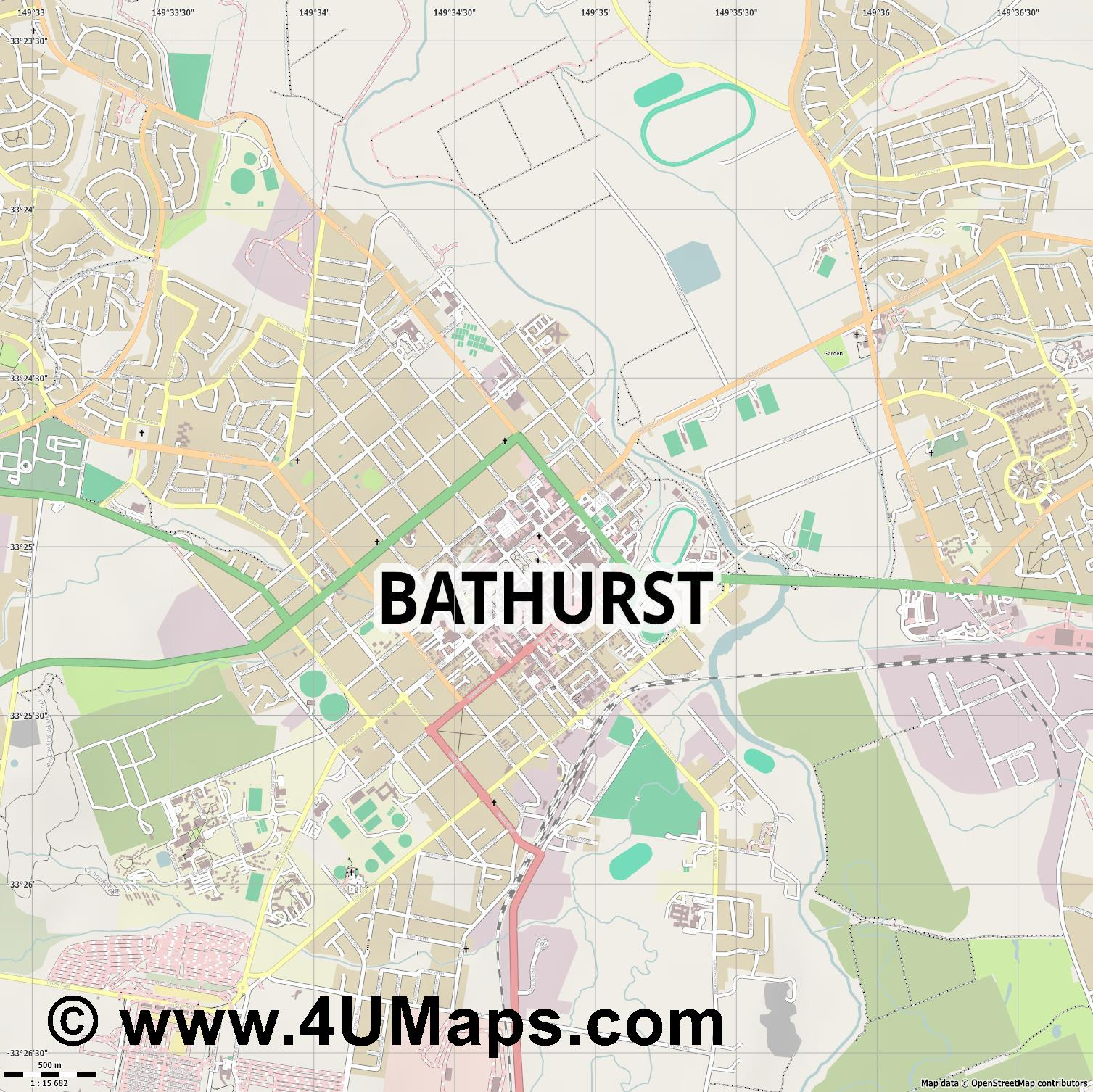 Bathurst  jpg ultra high detail preview vector city map