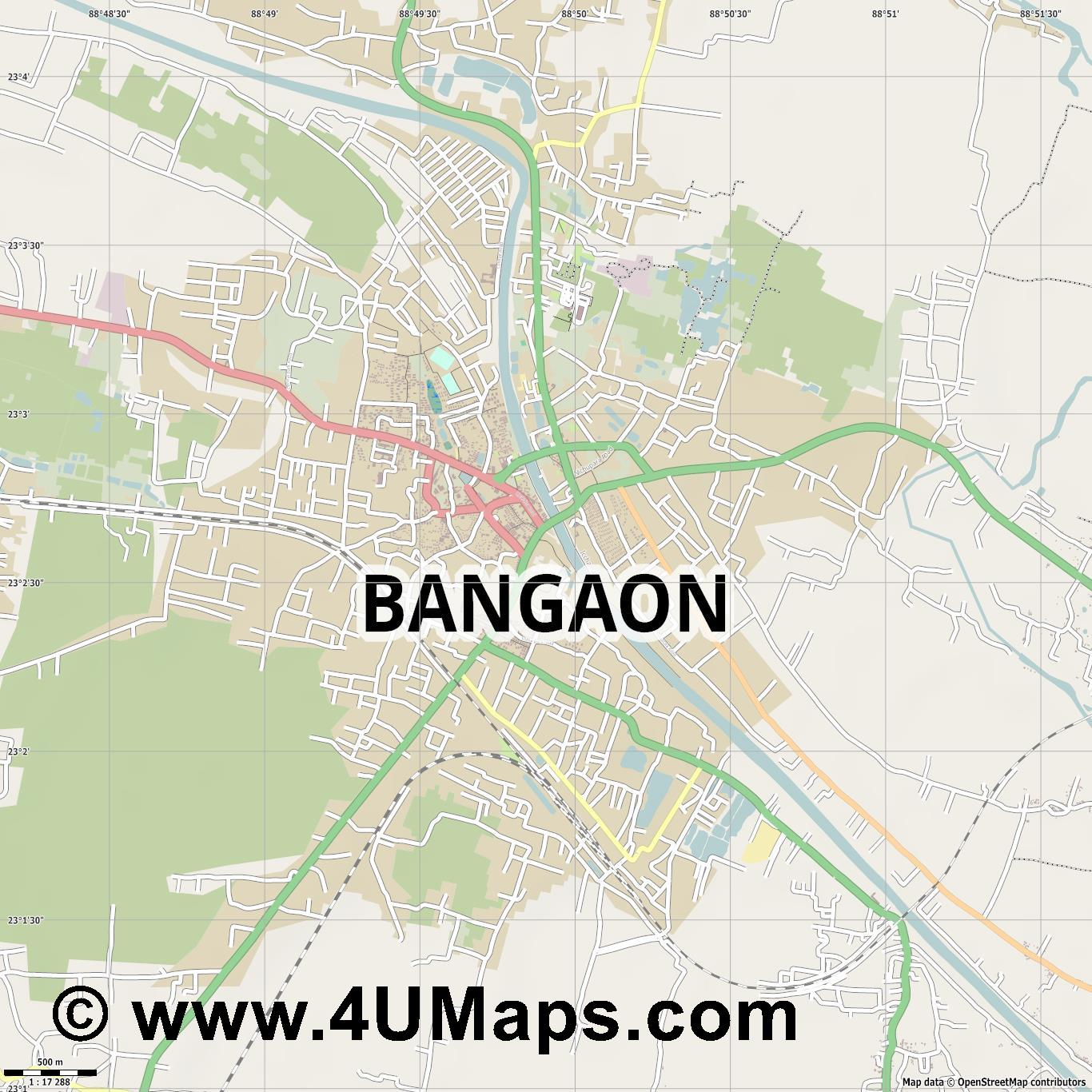 Bangaon  jpg ultra high detail preview vector city map