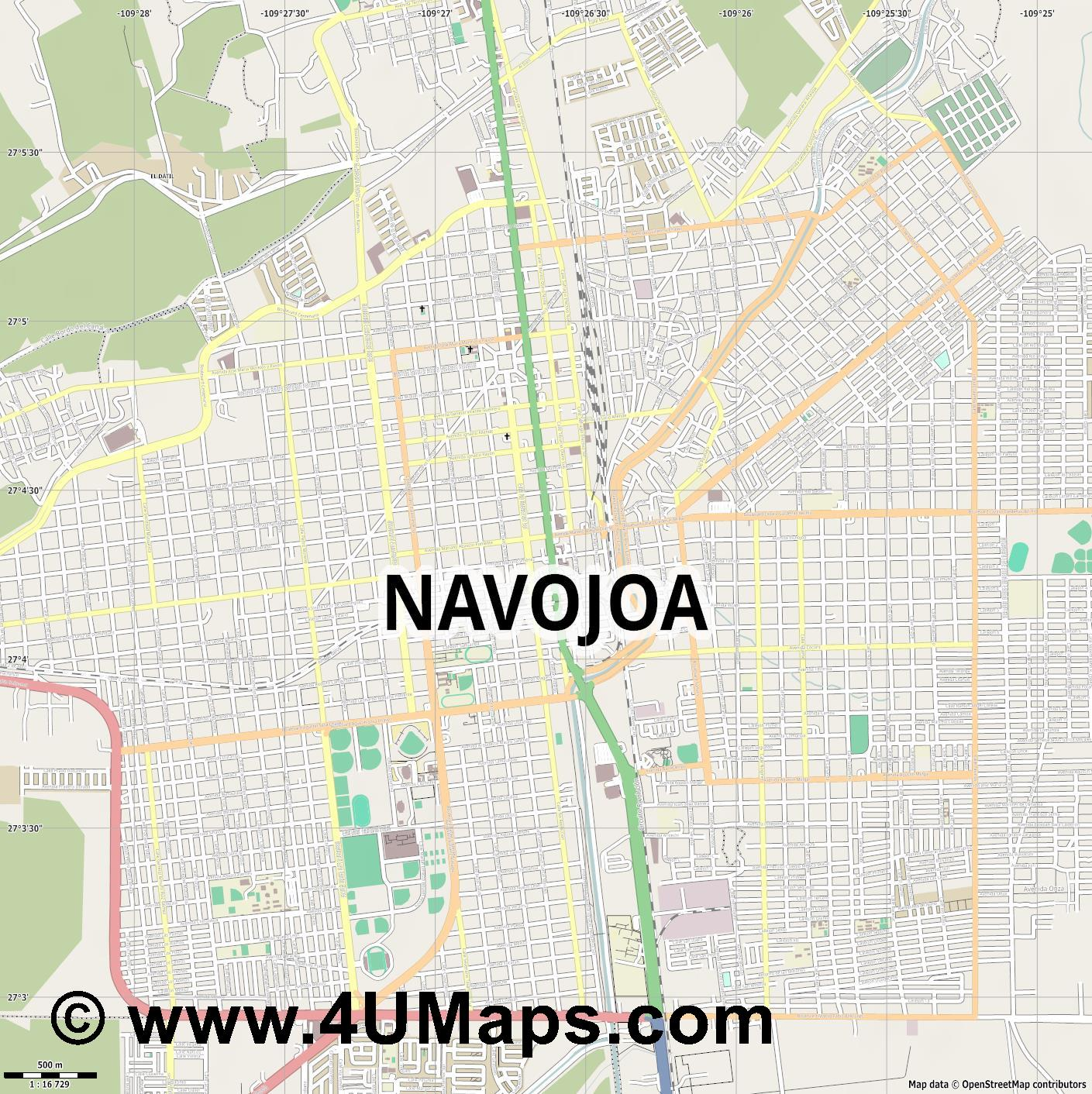 Navojoa  jpg ultra high detail preview vector city map