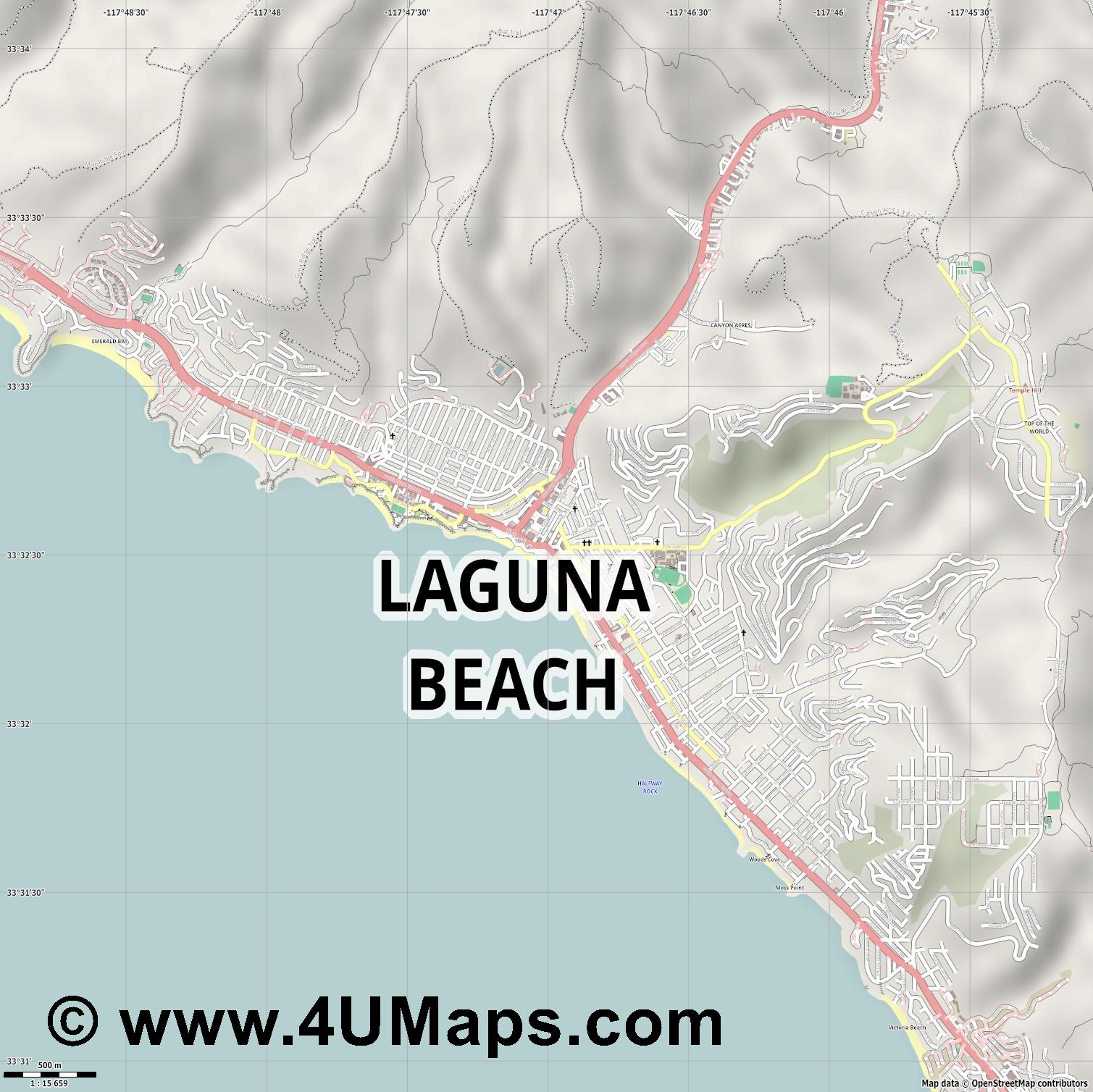 Laguna Beach  jpg ultra high detail preview vector city map
