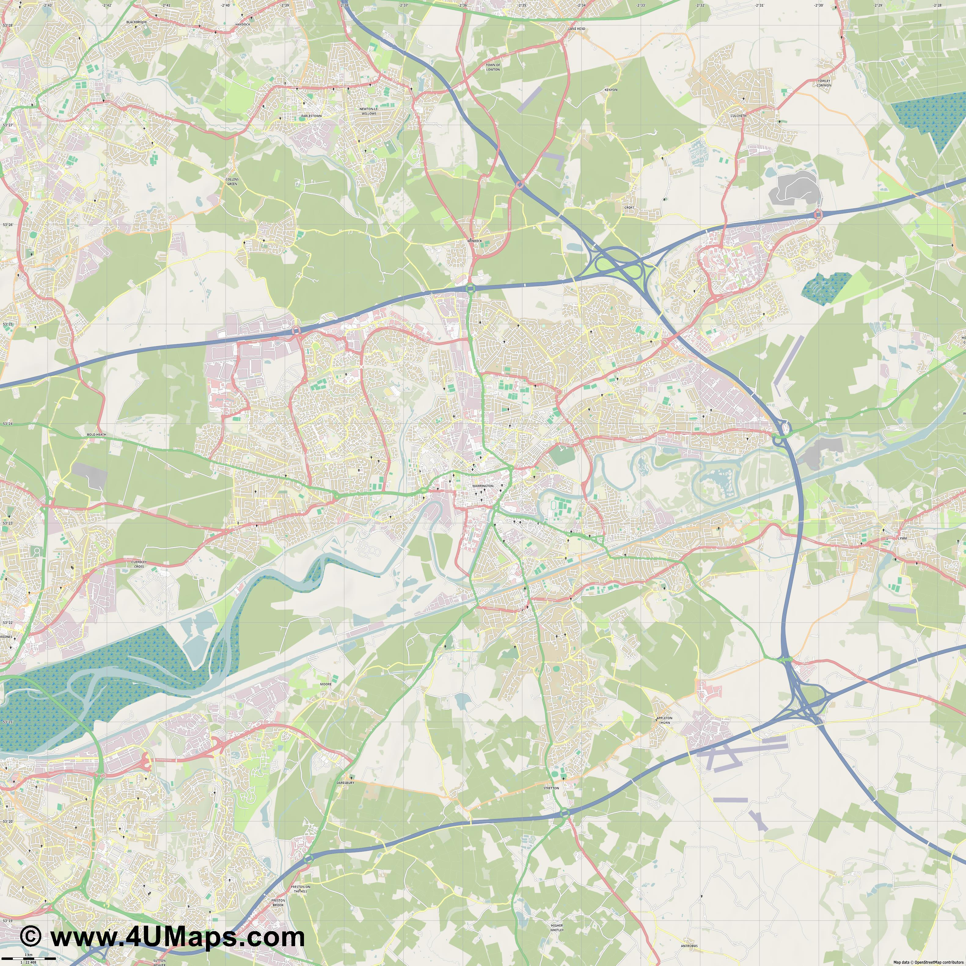 Warrington  jpg high detail, large area preview vector city map