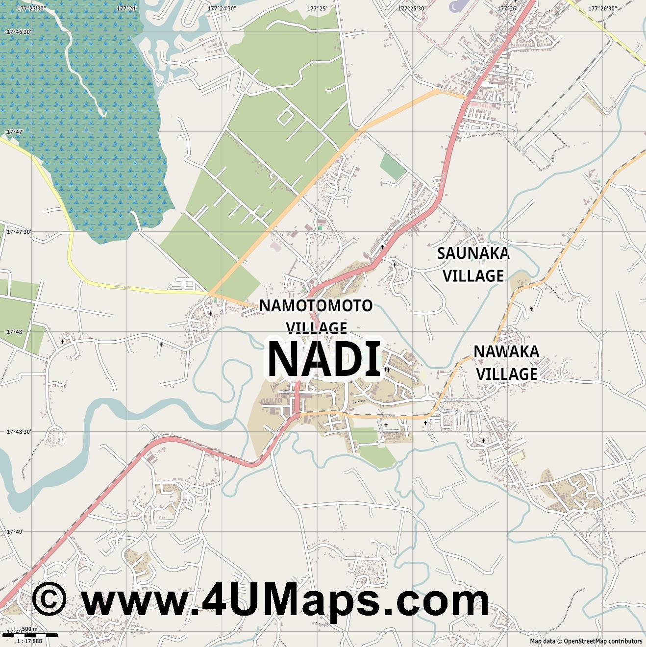 Nadi  jpg ultra high detail preview vector city map