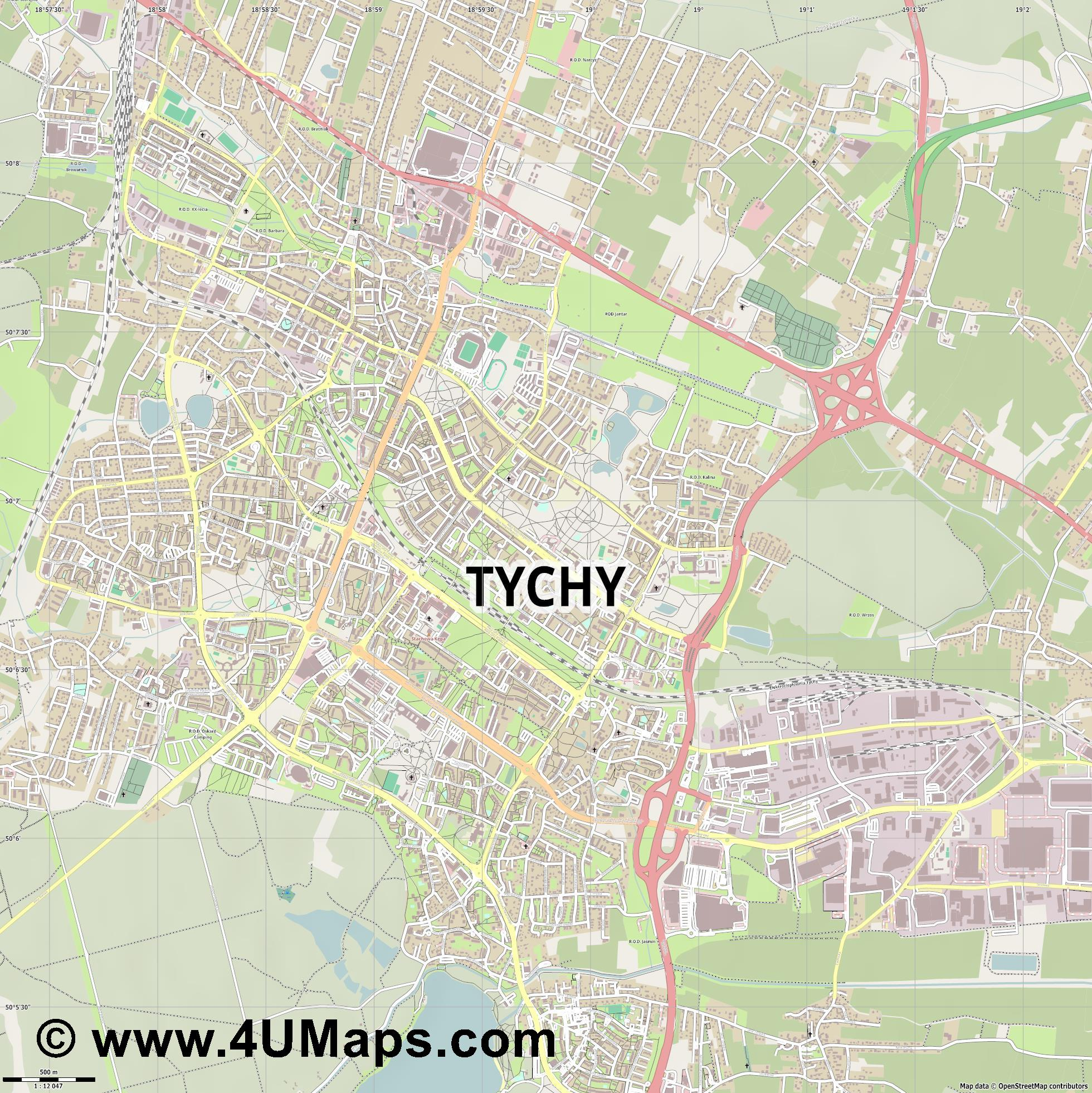 Tychy Tichau  jpg ultra high detail preview vector city map