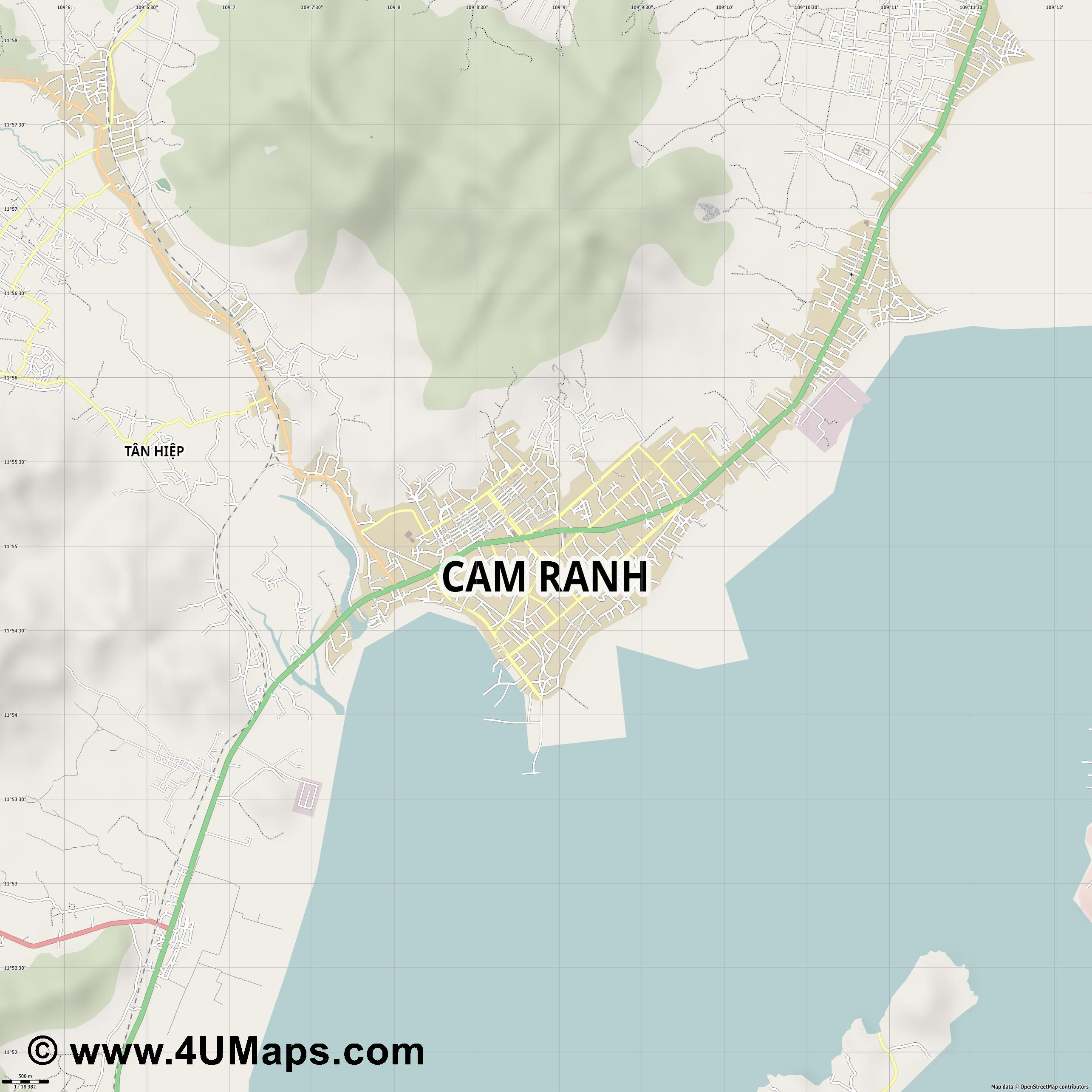 Cam Ranh  jpg ultra high detail preview vector city map