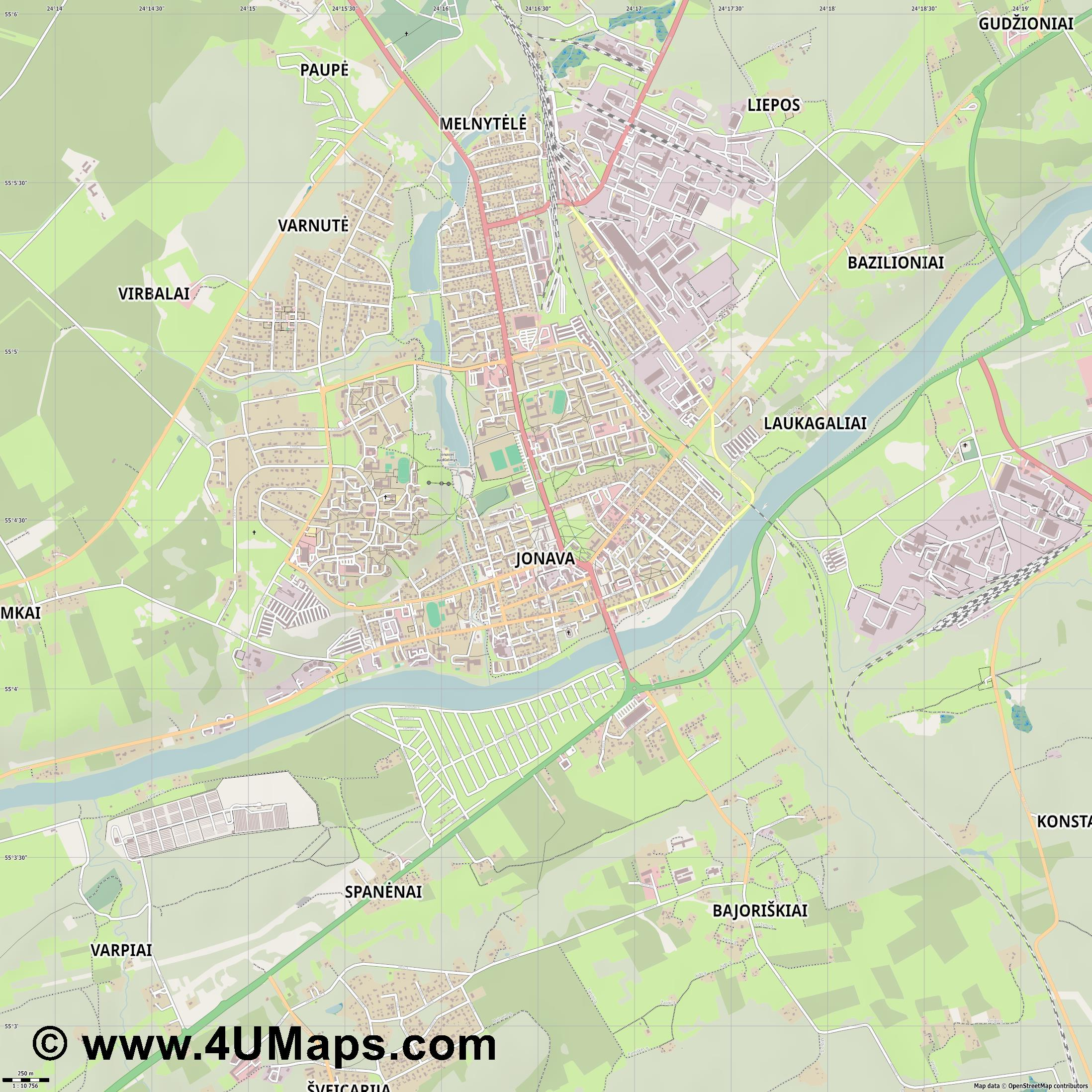 Jonava Janau  jpg ultra high detail preview vector city map
