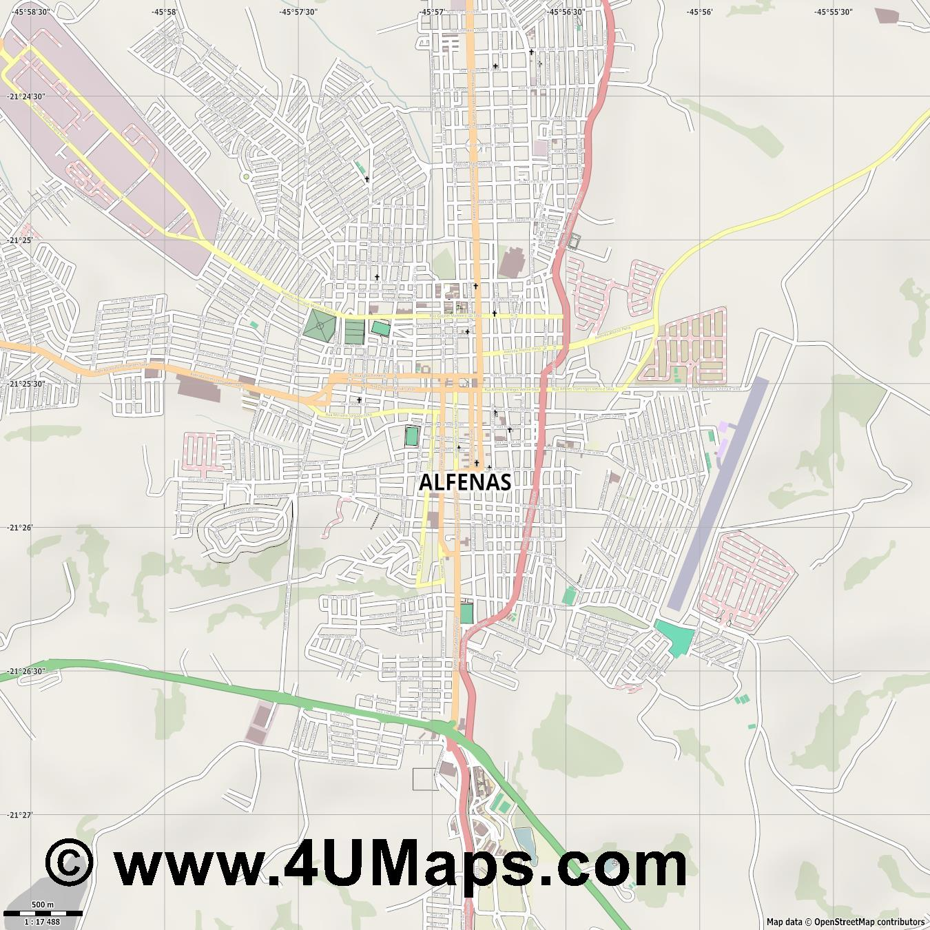 Alfenas  jpg ultra high detail preview vector city map