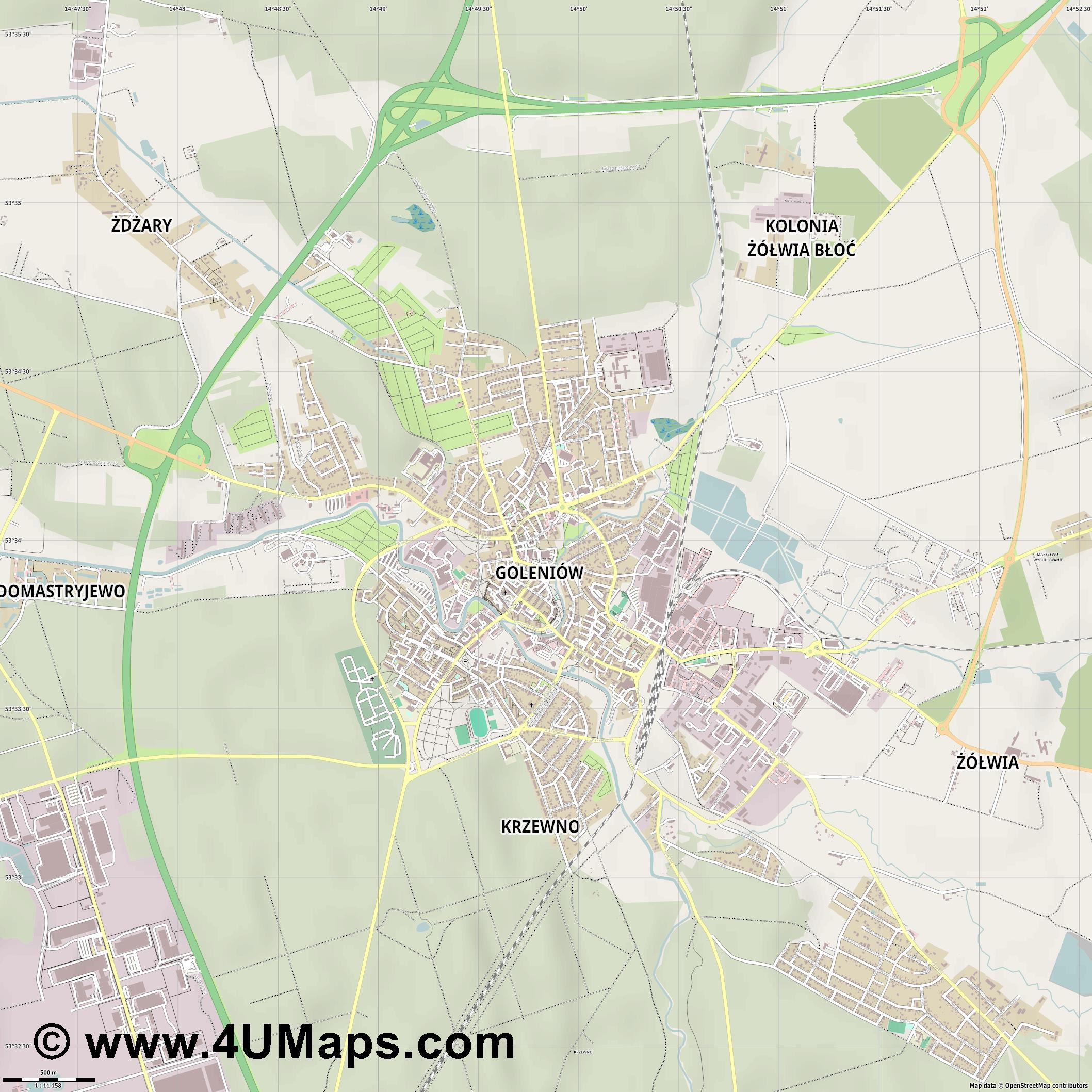 Goleniów Gollnow  jpg ultra high detail preview vector city map