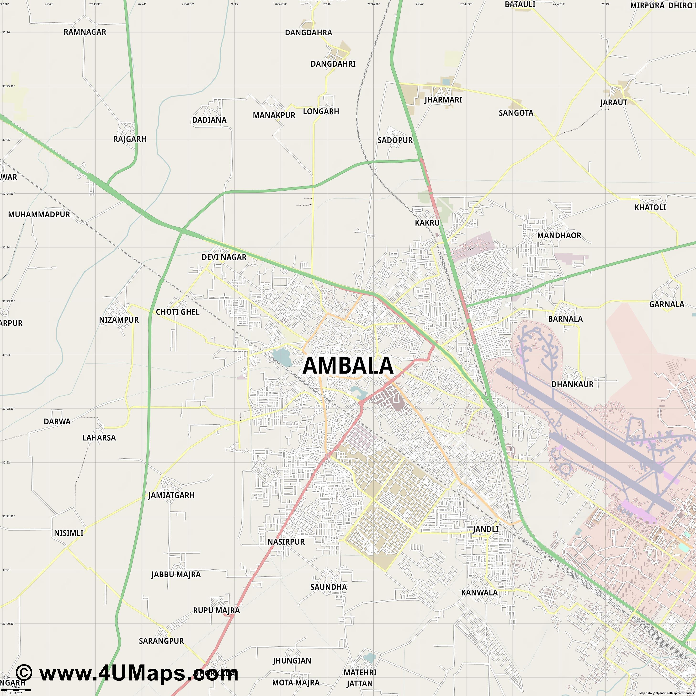 Ambala  jpg ultra high detail preview vector city map