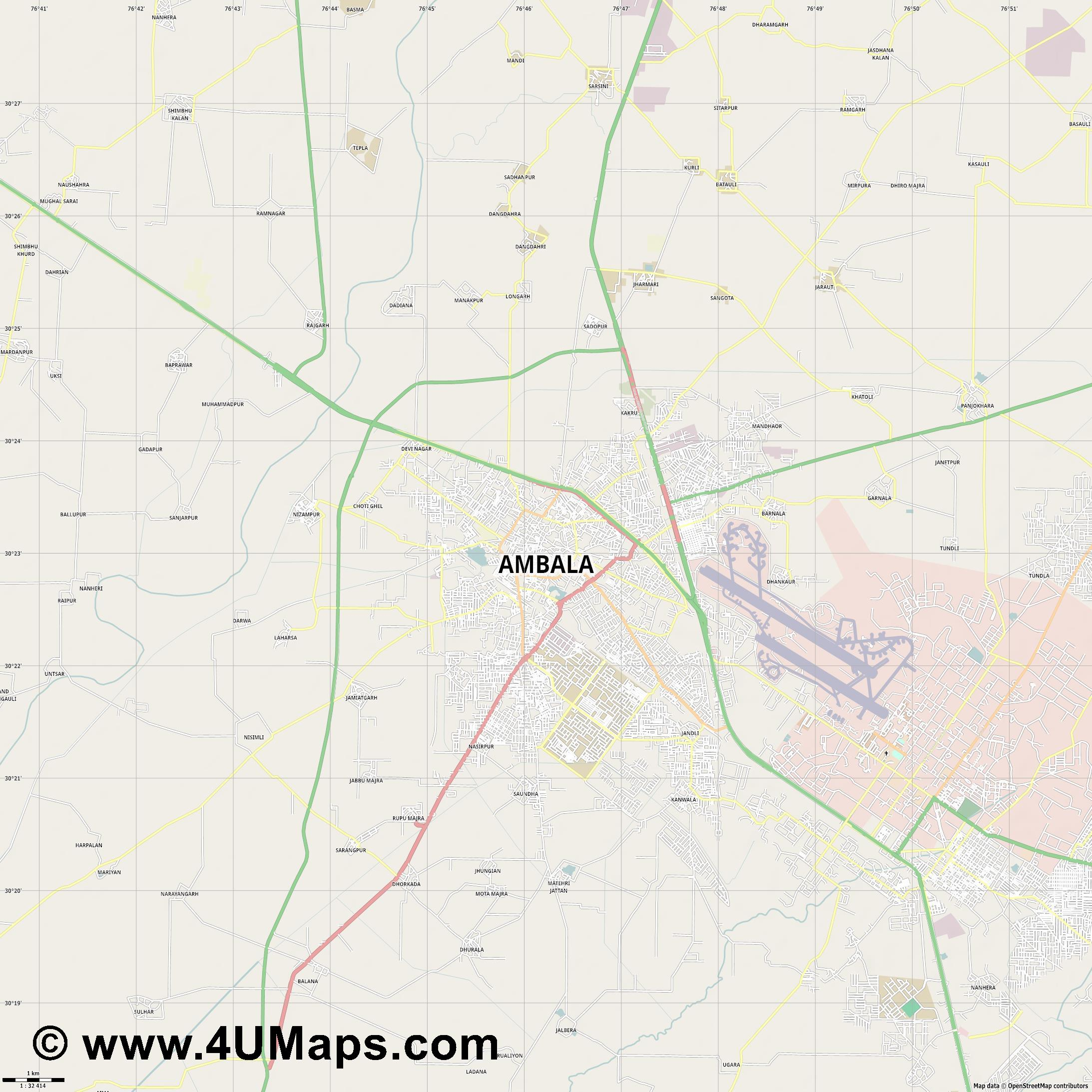 Ambala  jpg high detail, large area preview vector city map