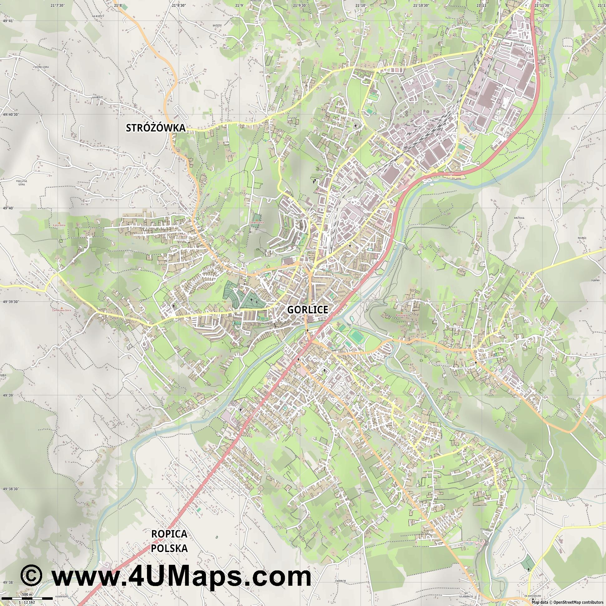 Gorlice Görlitz  jpg ultra high detail preview vector city map